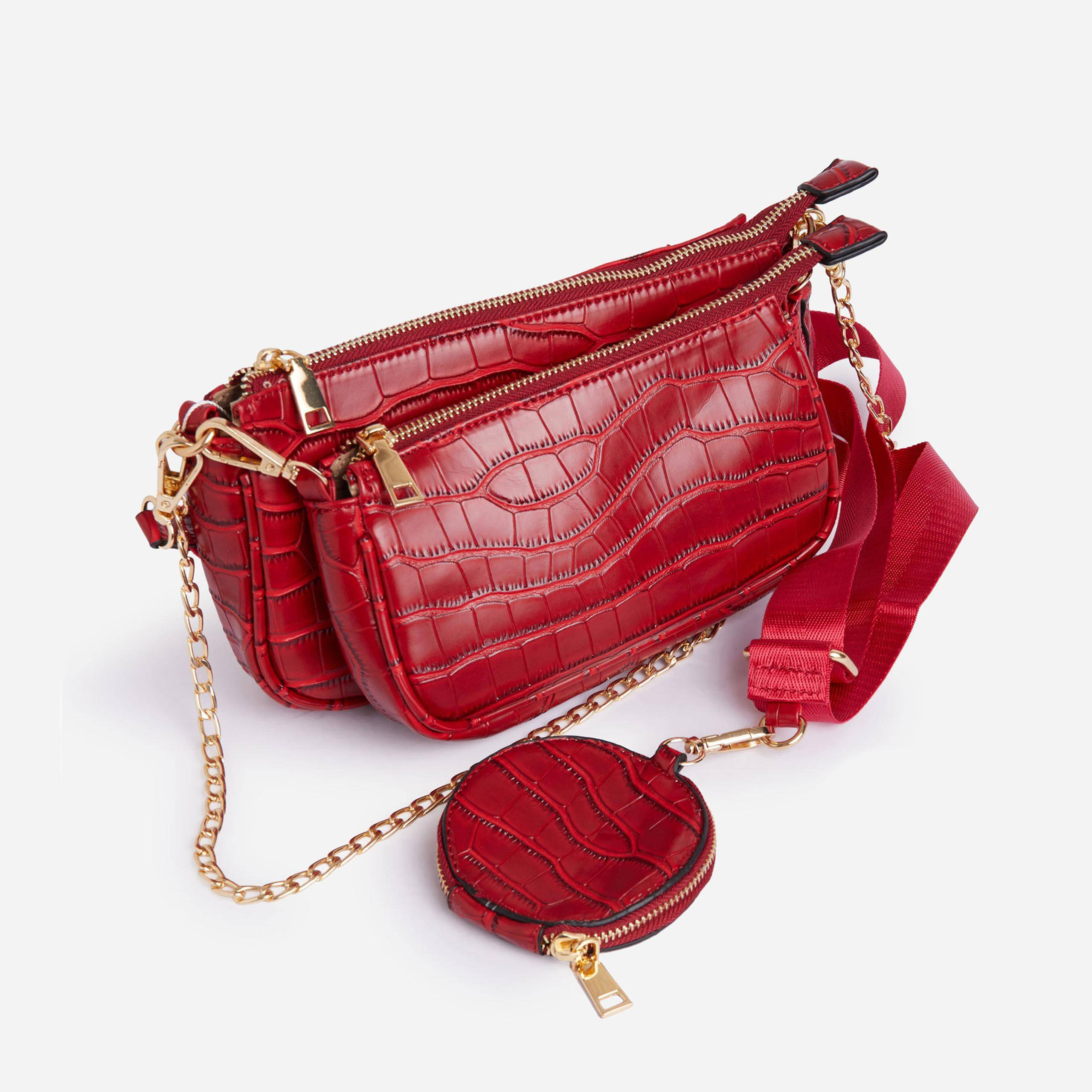 EGO Mika Chain And Purse Detail Cross Body Bag In Red Croc Print Patent,, Red  - female - Size: One Size