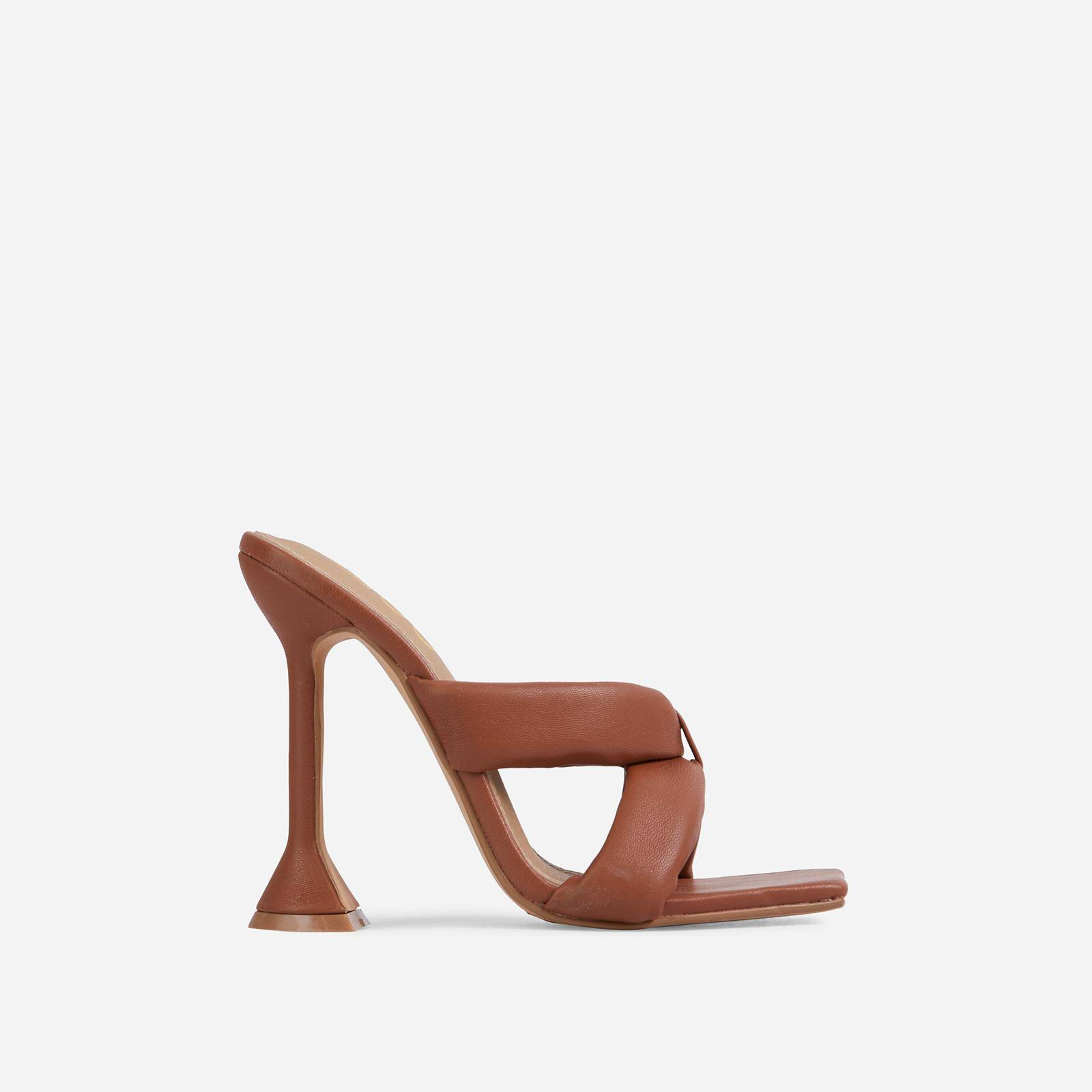 EGO Next-Level Square Toe Twisted Cross Strap Sculptured Heel Mule In Tan Brown Faux Leather, Brown  - female - Size: 10
