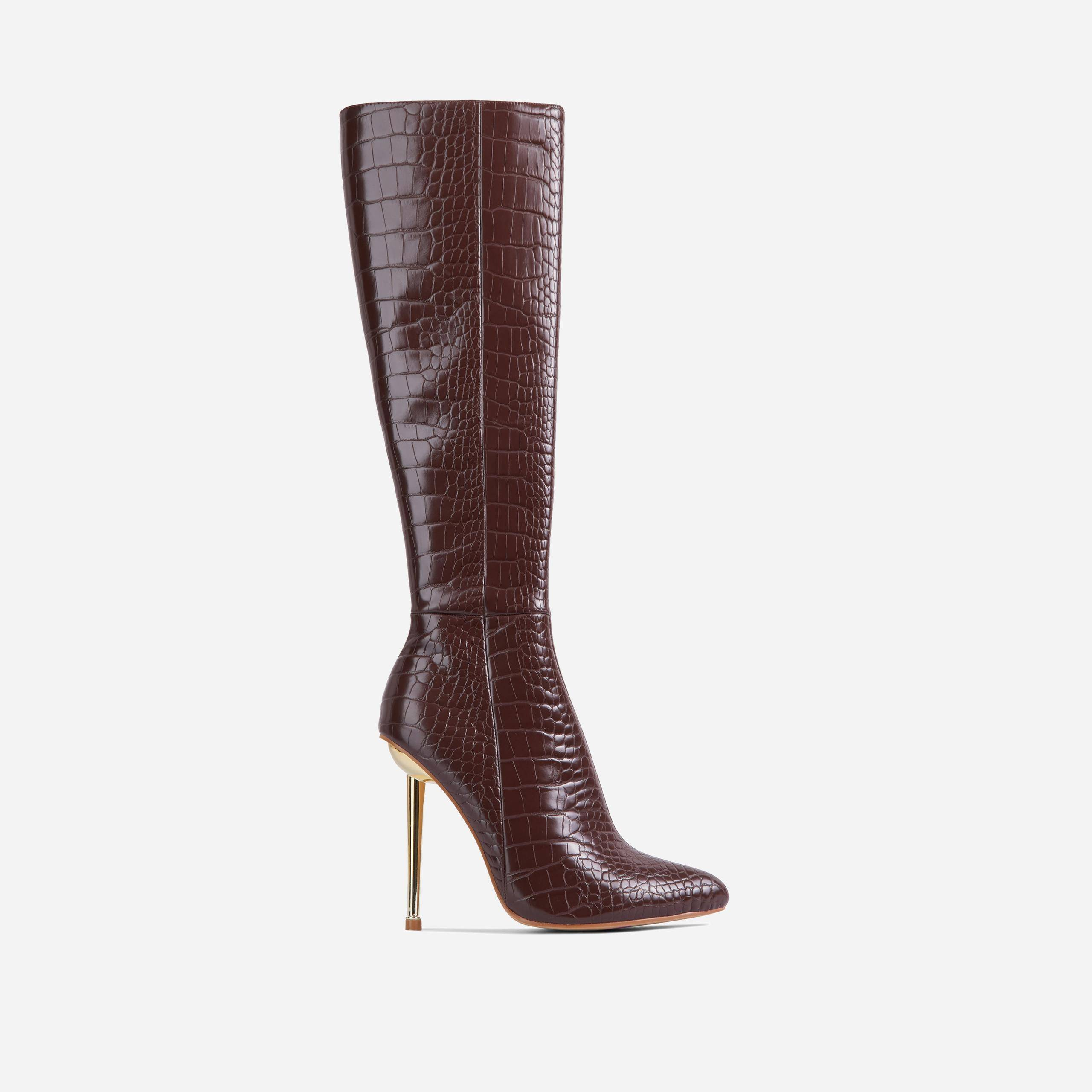 EGO Clarity Metallic Heel Knee High Long Boots In Dark Brown Croc Print Faux Leather, Brown  - female - Size: 10