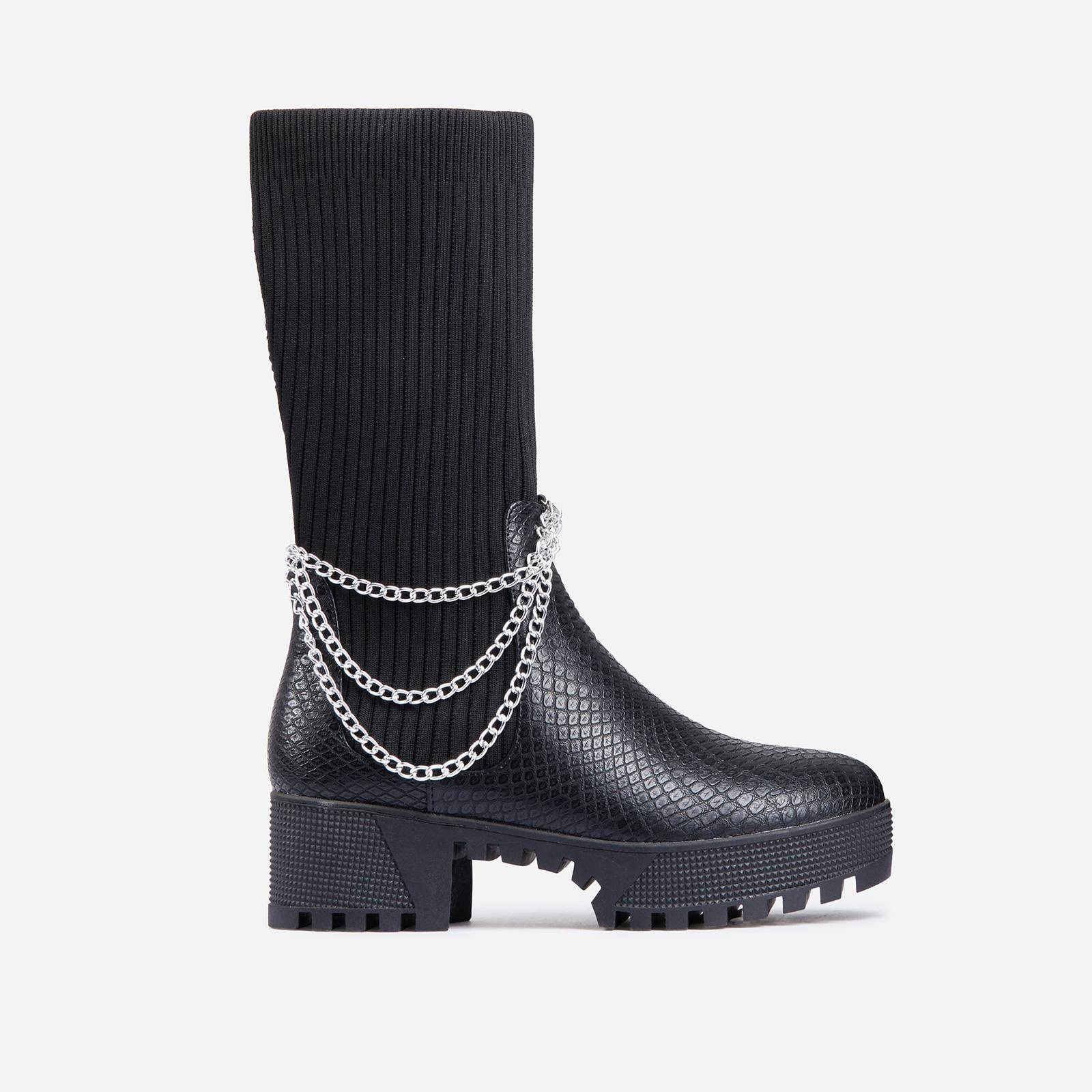 EGO Hint Chain Detail Ribbed Mid Calf Chunky Sole Ankle Bike Boot In Black Snake Print Faux Leather, Black  - female - Size: 5