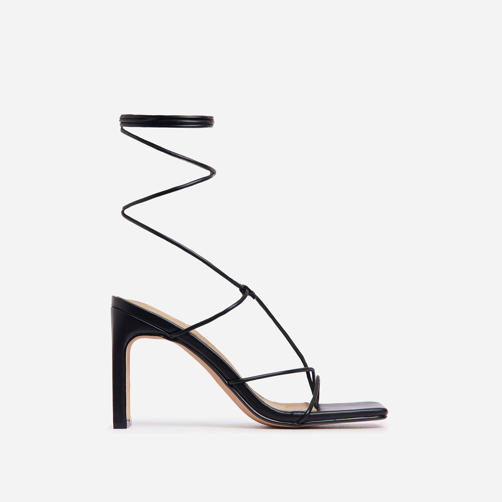 EGO Sweet Dream Square Toe Lace Up Thin Block Heel In Black Faux Leather, Black  - female - Size: 10
