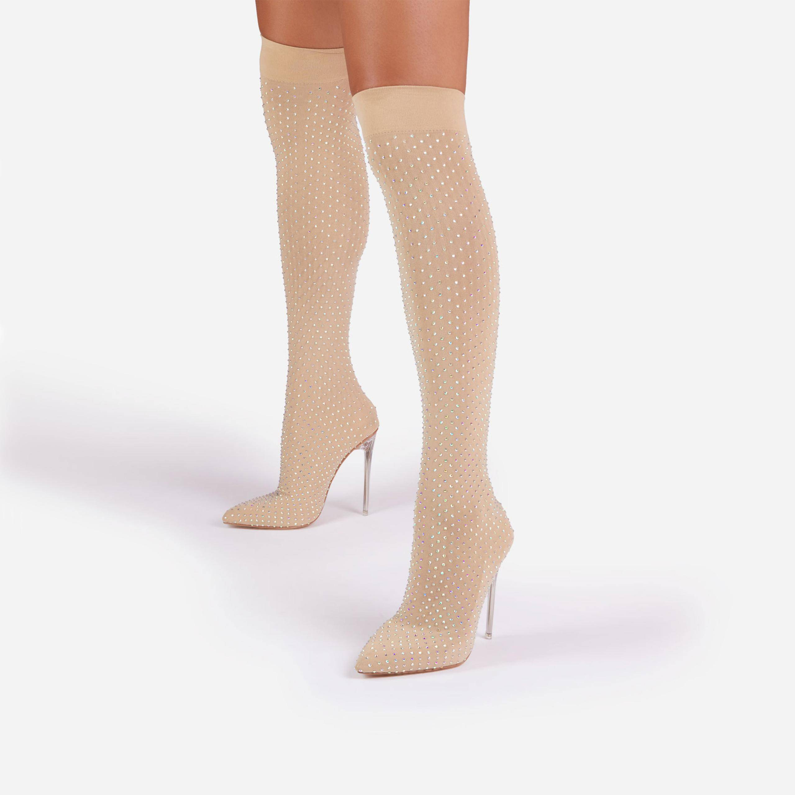 EGO Stallion Diamante Detail Clear Perspex Over The Knee Thigh High Long Sock Boot In Nude Fine Knit, Nude  - female - Size: 10