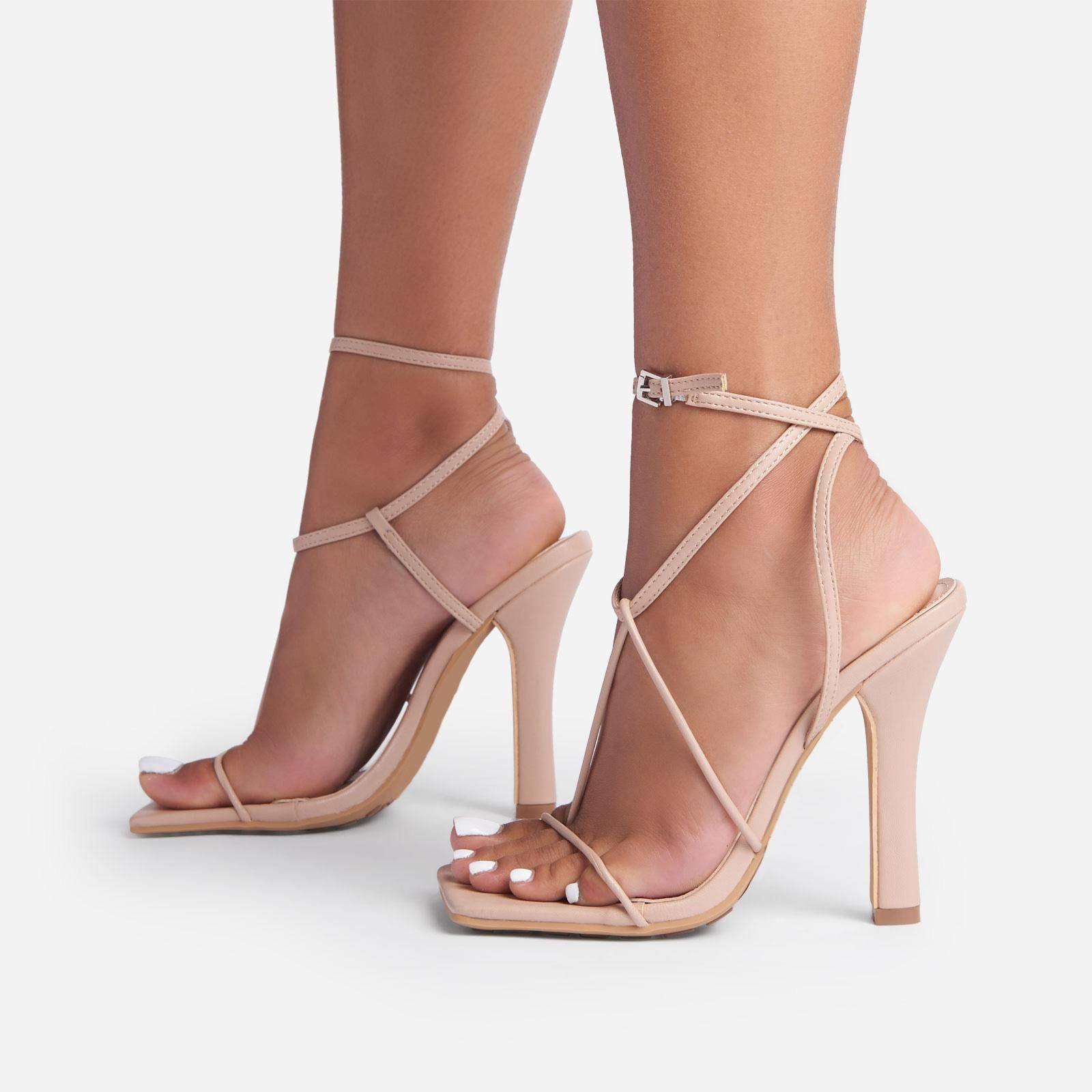 EGO Glambition Strappy Square Toe Track Sole Heel In Nude Faux Leather, Nude  - female - Size: 8