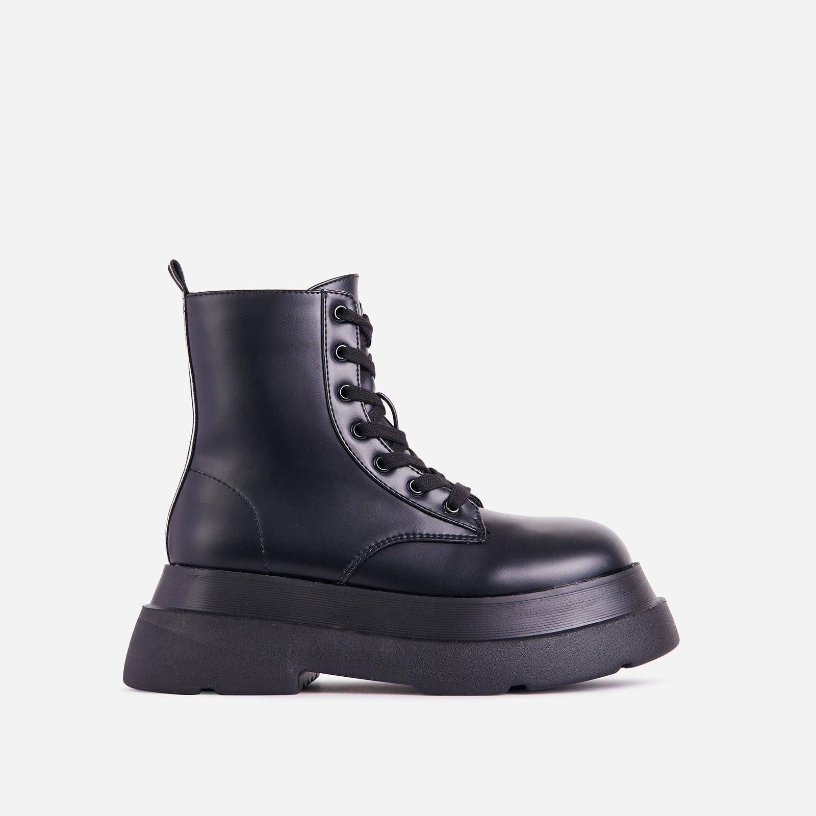 EGO Underground Lace Up Stripe Detail Chunky Sole Ankle Biker Boot In Black Faux Leather, Black  - female - Size: 9