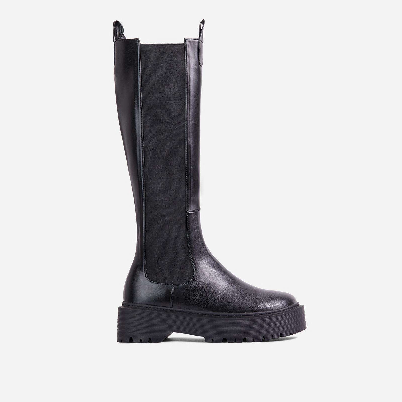 EGO Leona Chunky Sole Knee High Long Biker Boot in Black Faux Leather, Black  - female - Size: 6