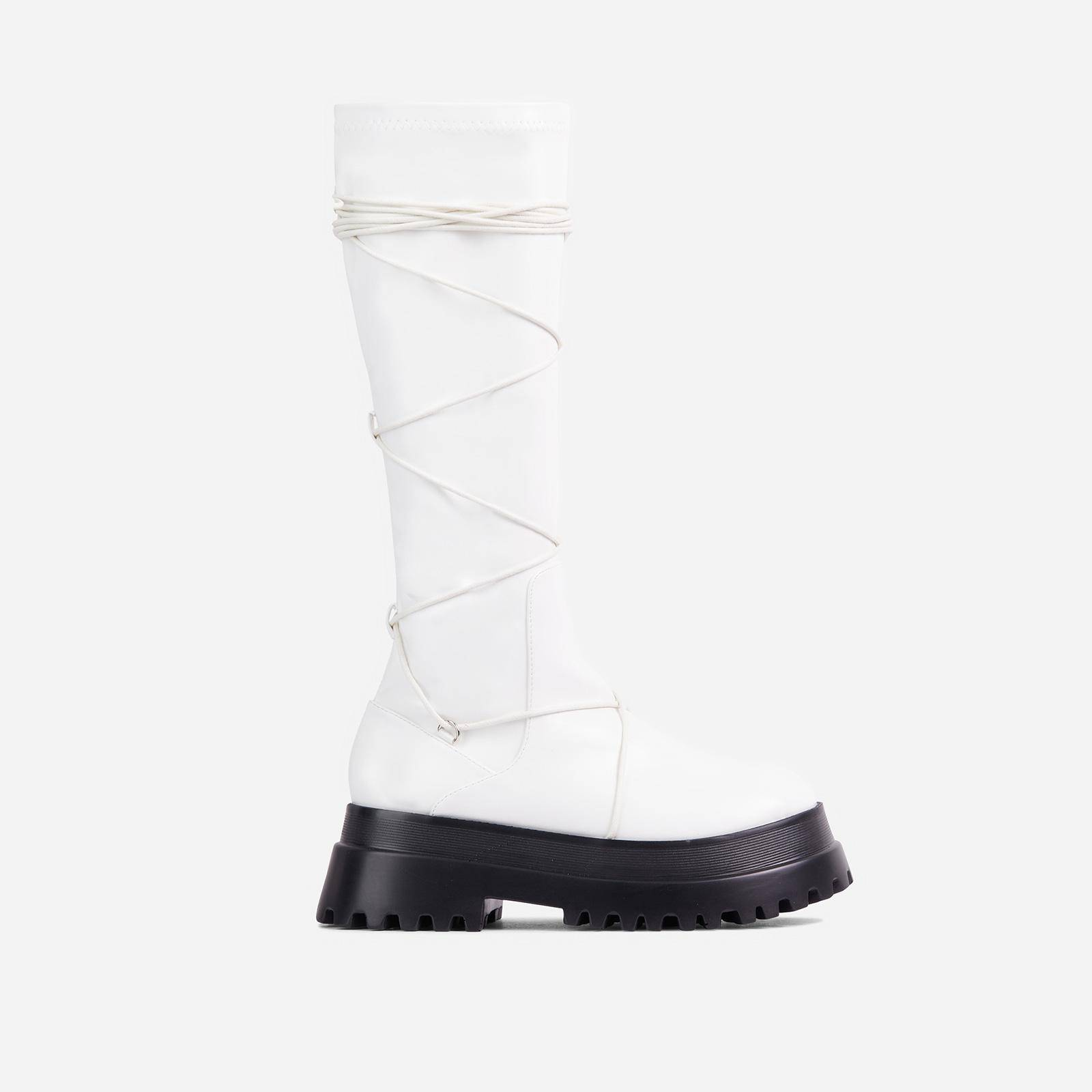 EGO Akali Lace Up Detail Chunky Sole Knee High Long Biker Boot In White Faux Leather, White  - female - Size: 9