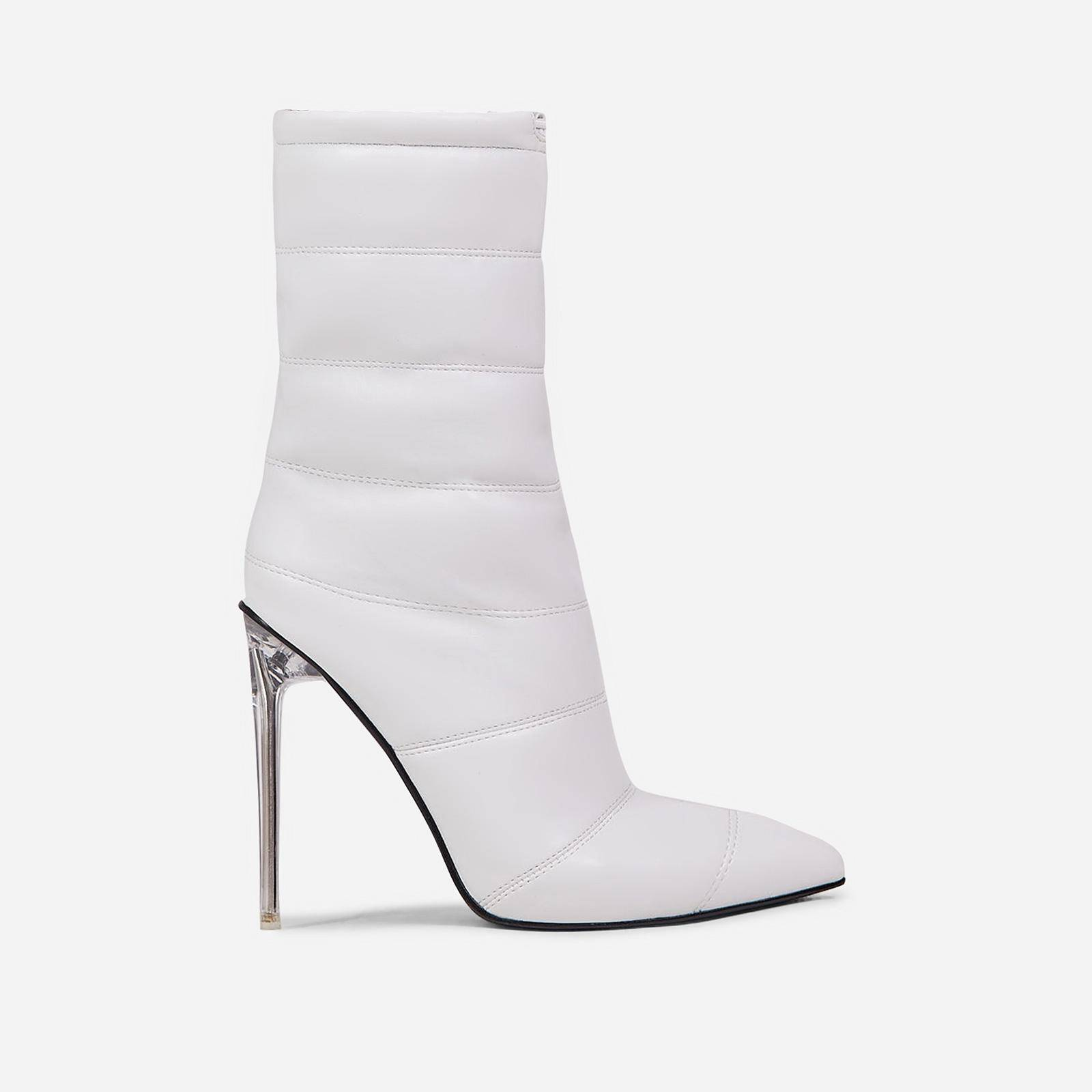 EGO Queen Puffa Pointed Toe Clear Perspex Heel Ankle Boot In White Faux Leather, White  - female - Size: 9