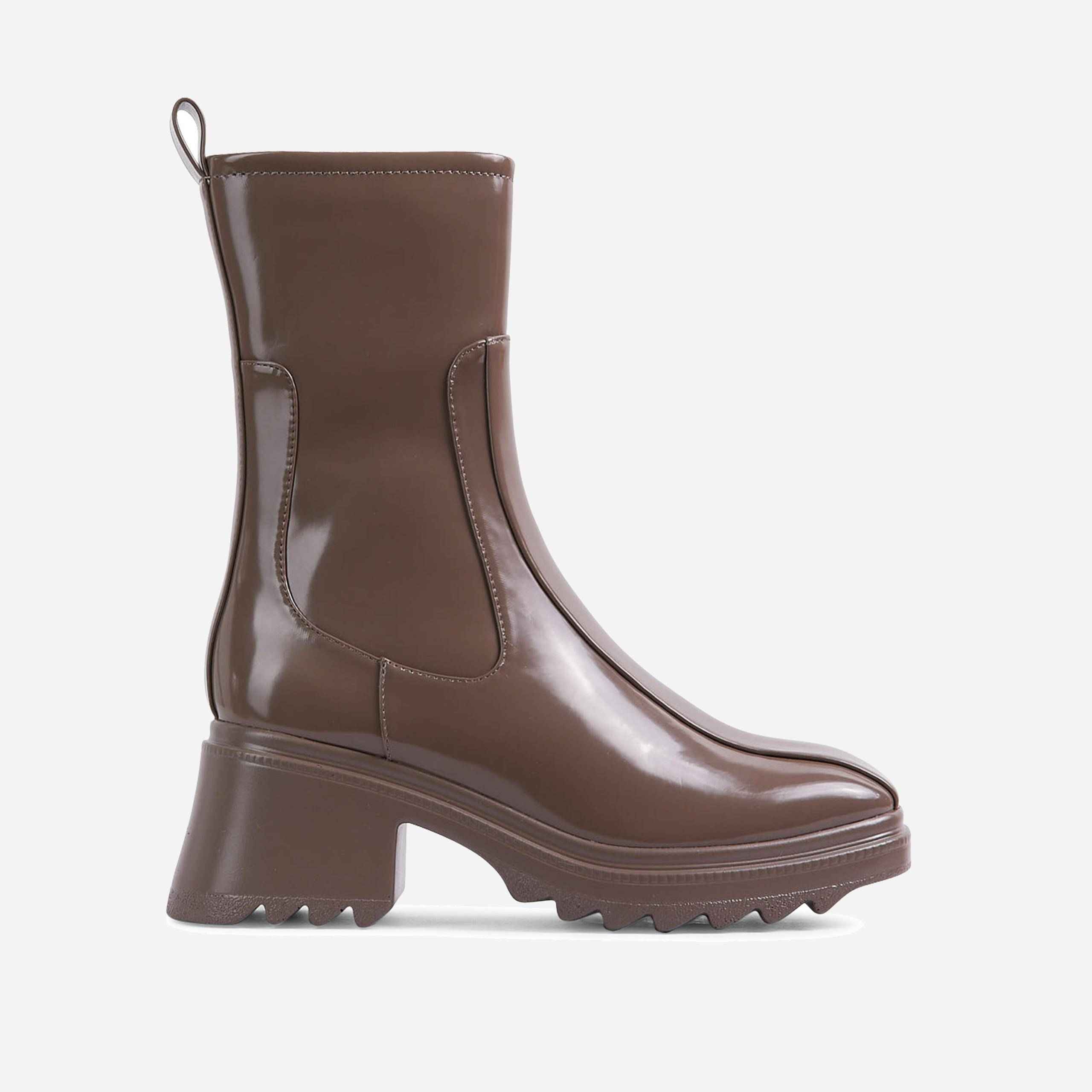 EGO Rain-On-Me Block Heel Ankle Wellington Boot In Khaki Green, Green  - female - Size: 5