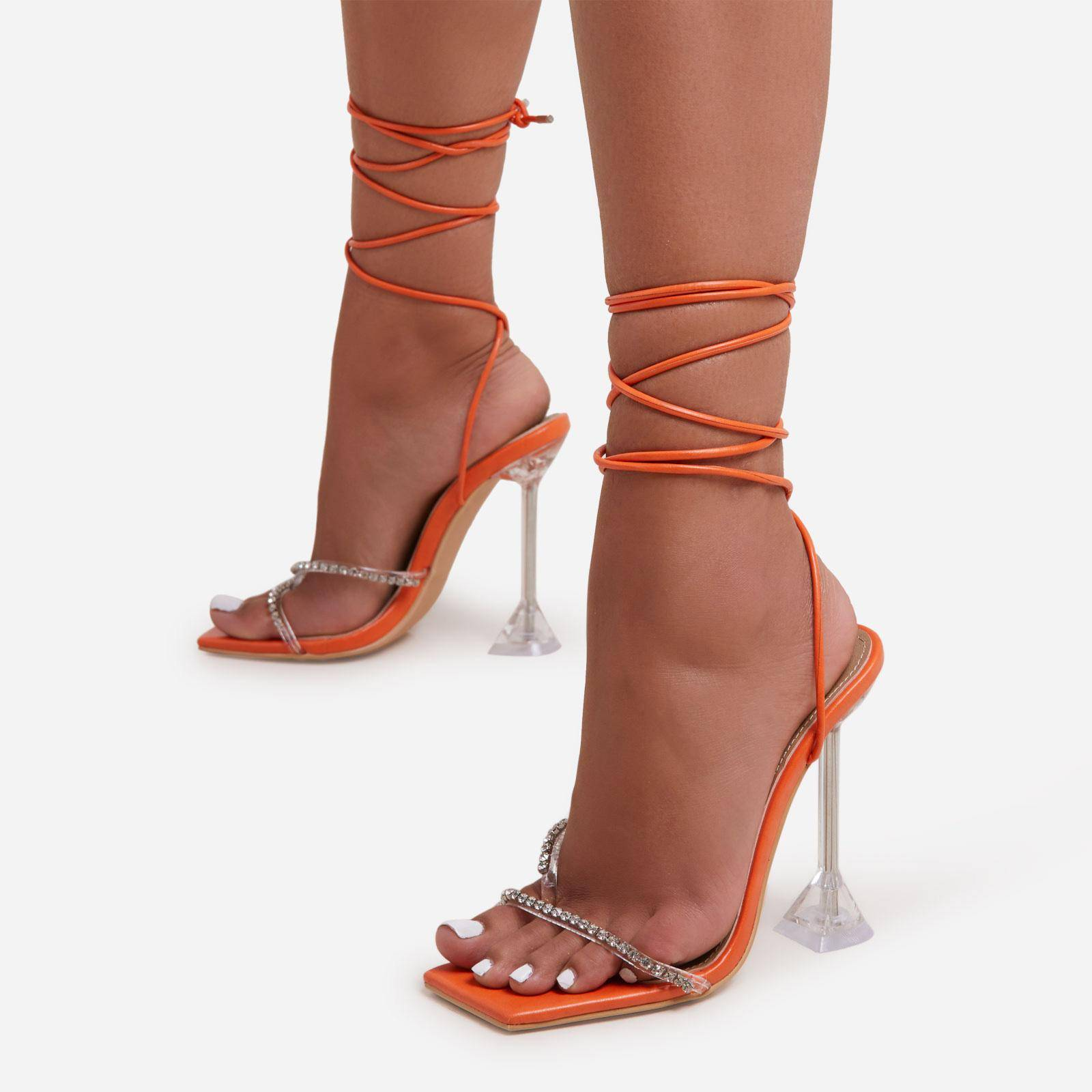 EGO Romantic Diamante Detail Lace Up Square Toe Clear Perspex Sculptured Heel In Orange Faux Leather, Orange  - female - Size: 7