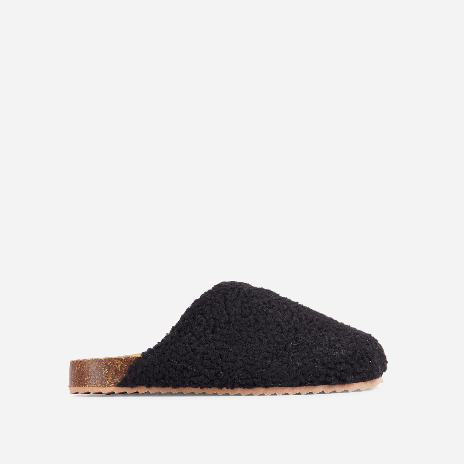 EGO Oozy Flat Mule In Black Faux Shearling, Black  - female - Size: 7