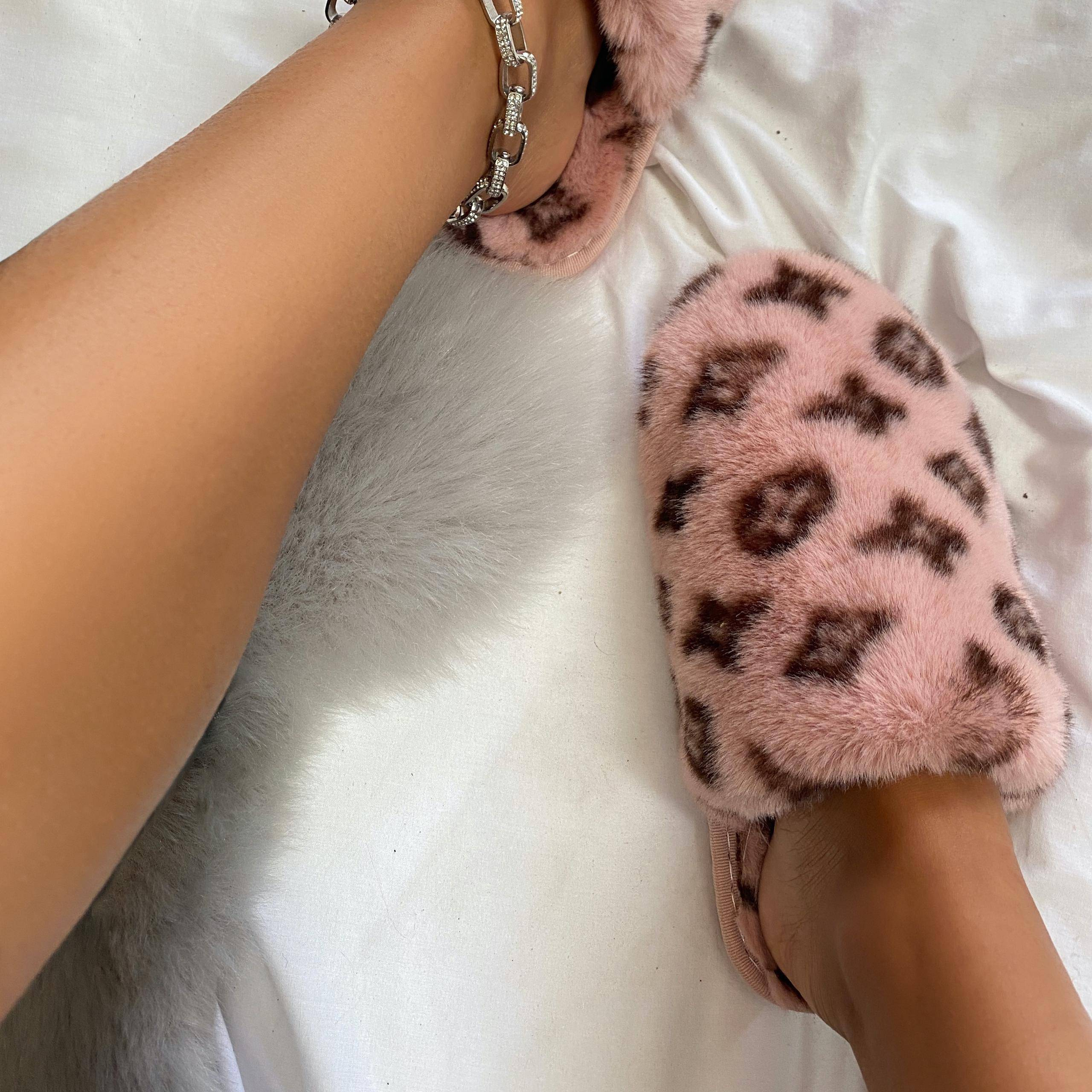 EGO Kulture Fluffy Printed Detail Flat Slipper In Pink Faux Fur, Pink  - female - Size: 8