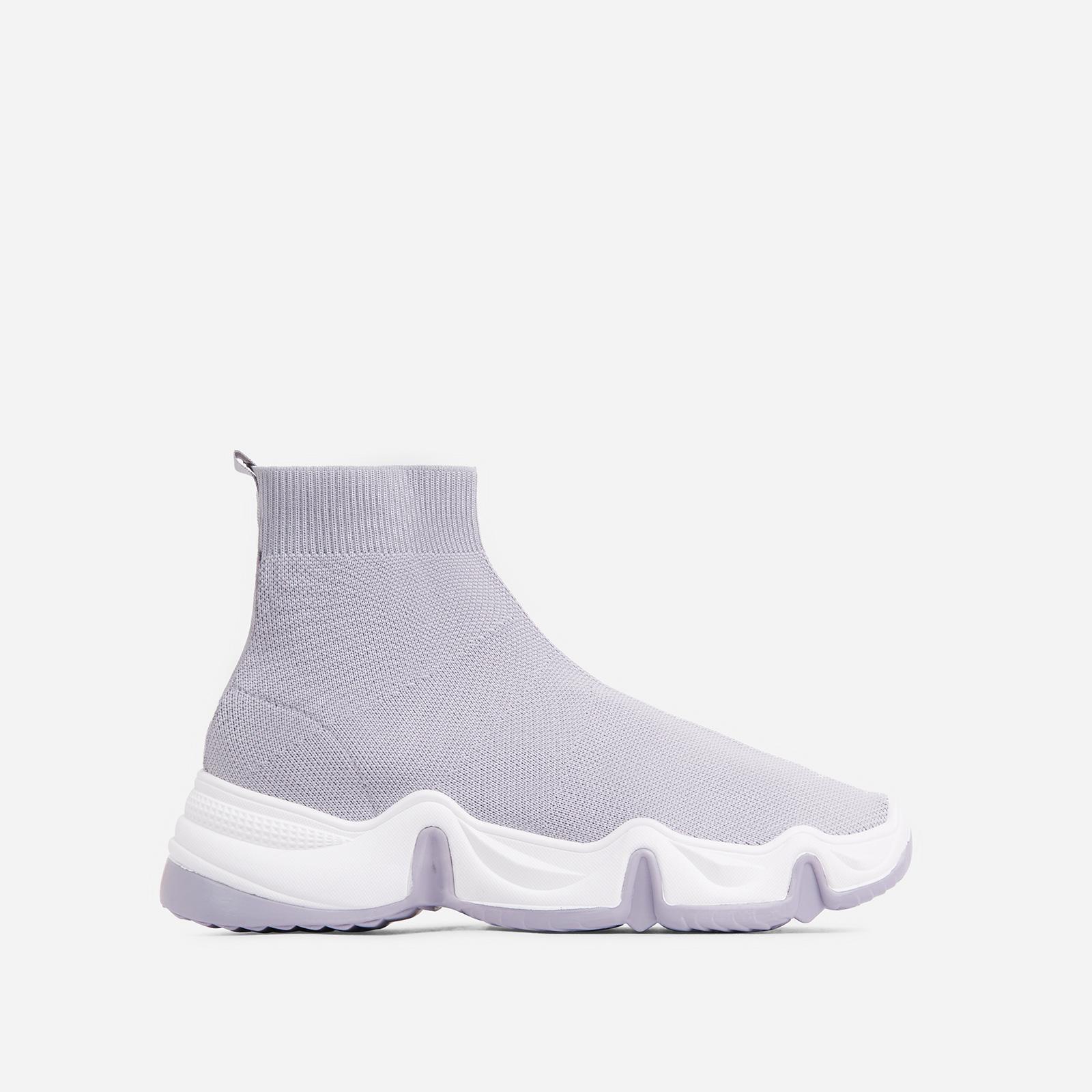 EGO Atlas Chunky Sole Sock Trainer In Grey Knit, Grey  - female - Size: 5