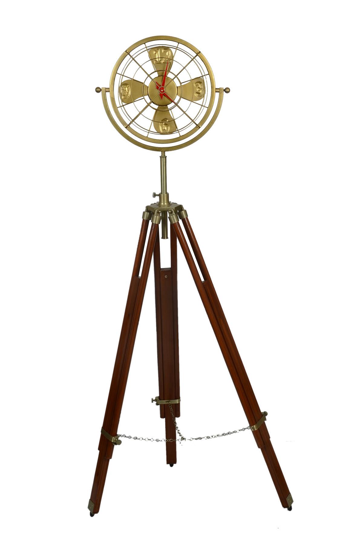 ArtizayIndia Rose Wood Tripod Stand Metal Fan Clock Vintage Retro Steampunk Unique