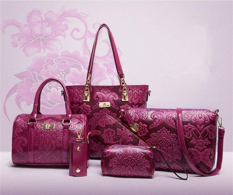 avology Luxury 6 Bags Handbag Shoulder Bag Tote Wallet Key Bag PU Leather Design Bag for Women  Purp