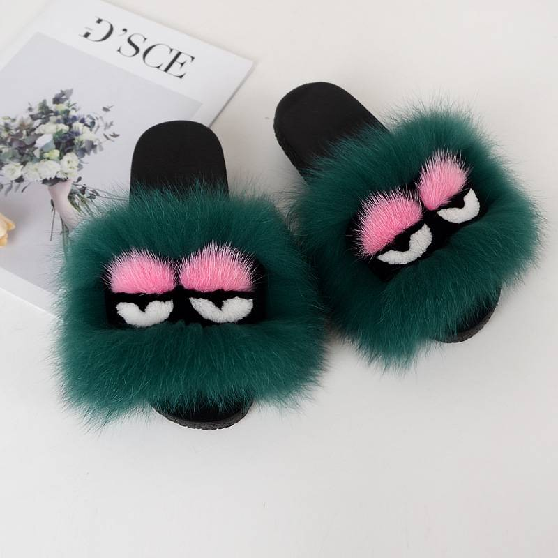 Shoes Party Fox fur little monster slippers slippers Jurchen fur grass fur cool slippers As the Show