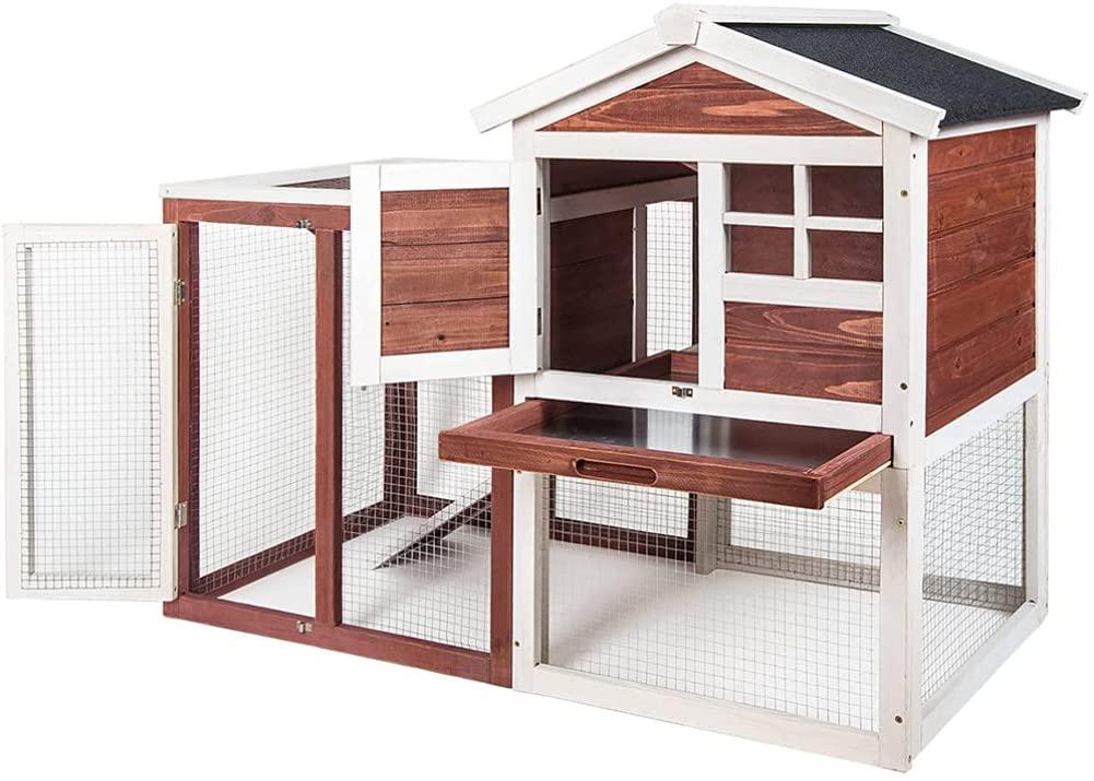 NikolPetShop Pet Supplies Chicken House Wooden Indoor Outdoor Cage- Brown