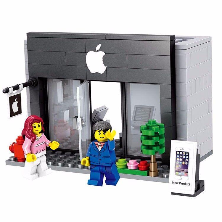 Ponderosa Shopping City Mini Street Apple Store 3D Model Building Blocks Without Box