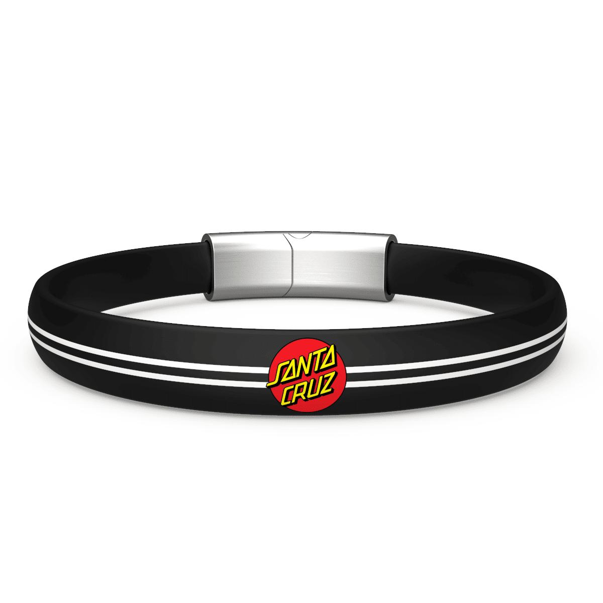 EnsoRings Santa Cruz Silicone Bracelet - Classic Dot Black - Silver/Brushed