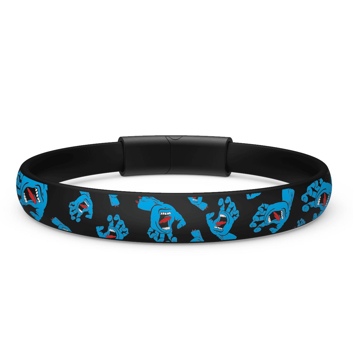 EnsoRings Santa Cruz Silicone Bracelet - Hands Allover - Black/Brushed