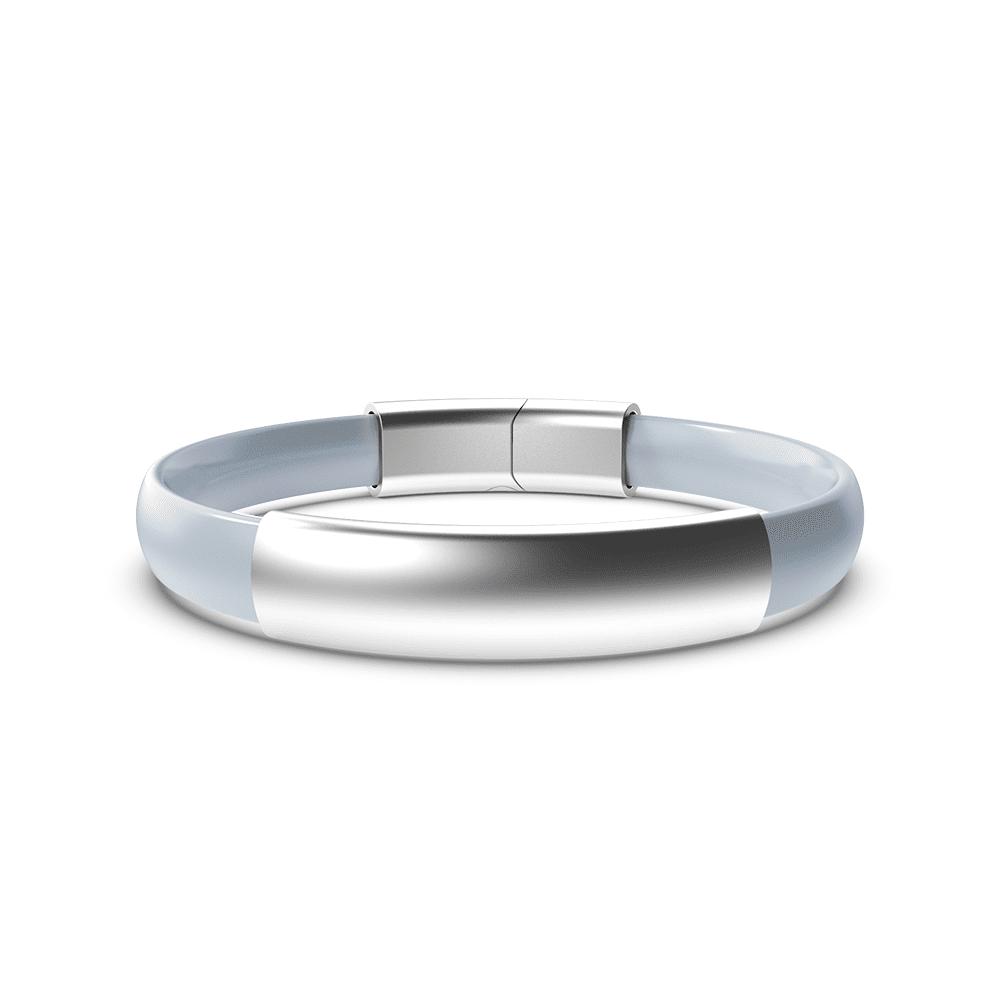 EnsoRings MOD Silicone Bracelet - Diamond Band w/Polished Silver Sleeve & Clasp