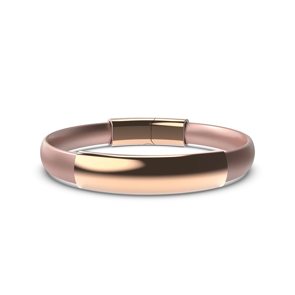 EnsoRings MOD Silicone Bracelet - Rose Gold Band w/Polished Rose Gold Sleeve & Clasp