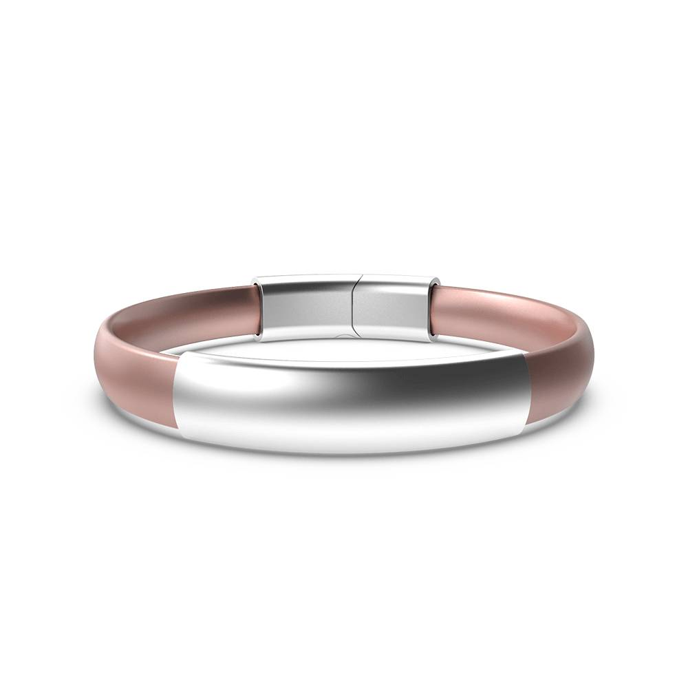 EnsoRings MOD Silicone Bracelet - Rose Gold Band w/Brushed Silver Sleeve & Clasp