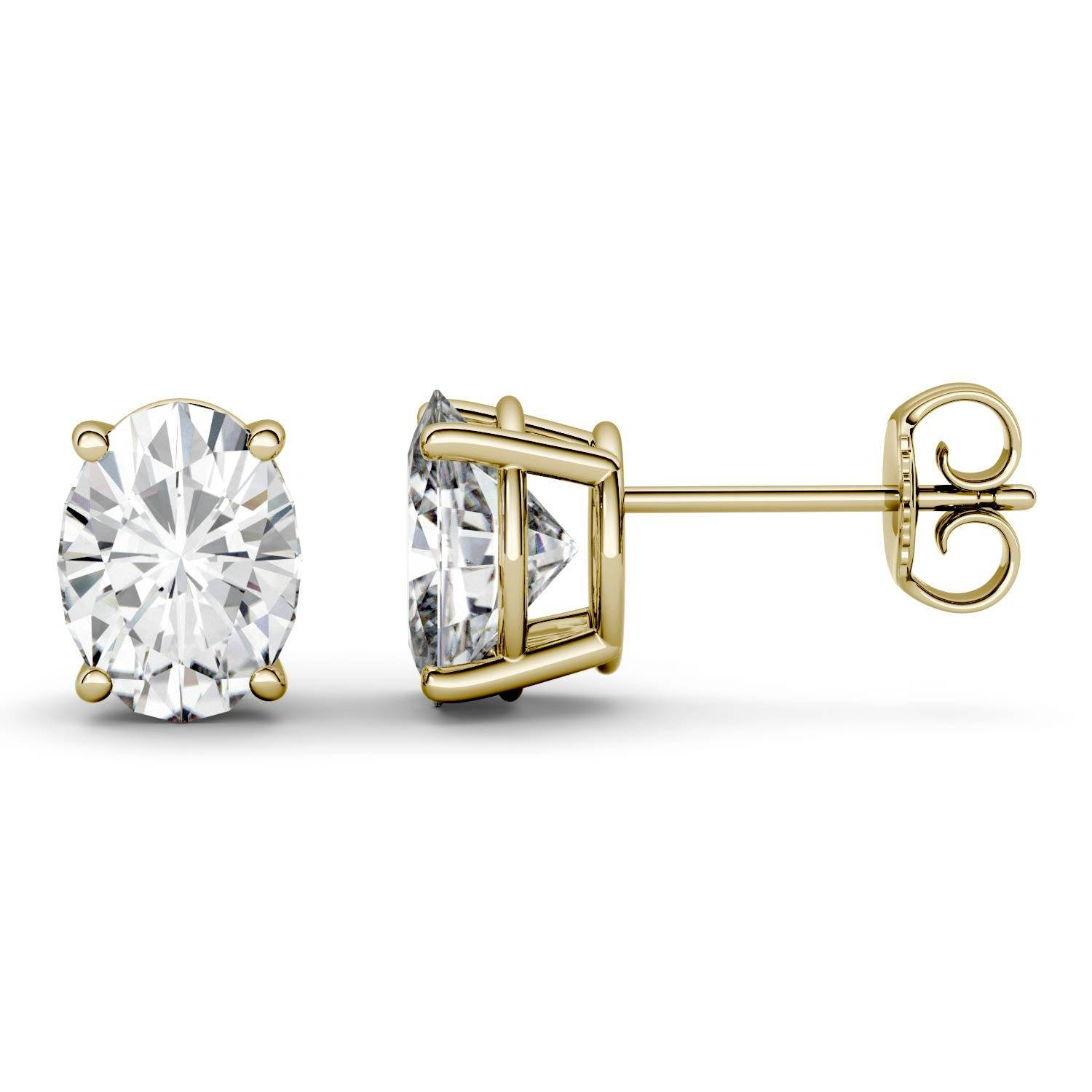 Charles & Colvard Four Prong Solitaire Stud Earring in 14K Yellow Gold, 3.00CTW Oval Forever One - Colorless Moissanite Charles & Colvard  - Yellow Gold - Size: One Size