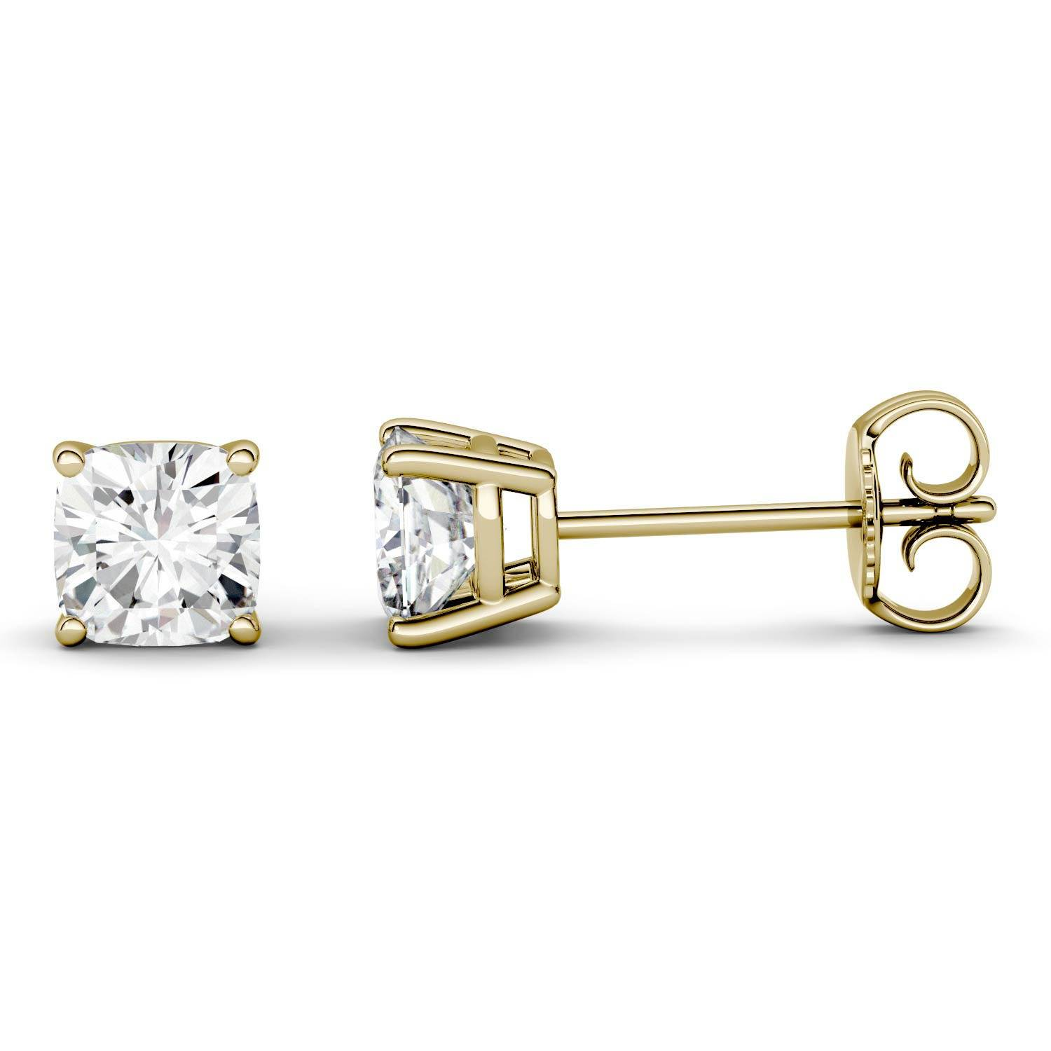 Charles & Colvard Four Prong Solitaire Stud Earring in 14K Yellow Gold, 1.00CTW Cushion Forever One - Colorless Moissanite Charles & Colvard  - Yellow Gold - Size: One Size