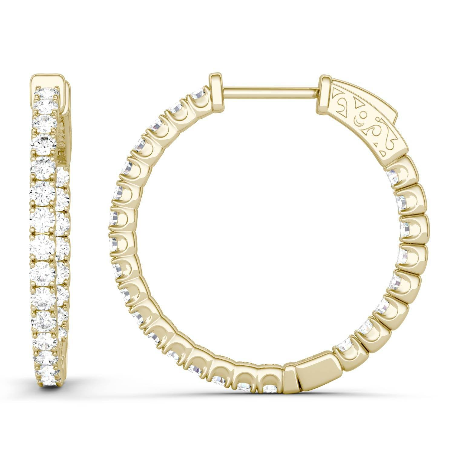 Charles & Colvard Hoop Earring in 14K Yellow Gold, 1.00CTW Round Forever One - Colorless Moissanite Charles & Colvard  - Yellow Gold - Size: One Size