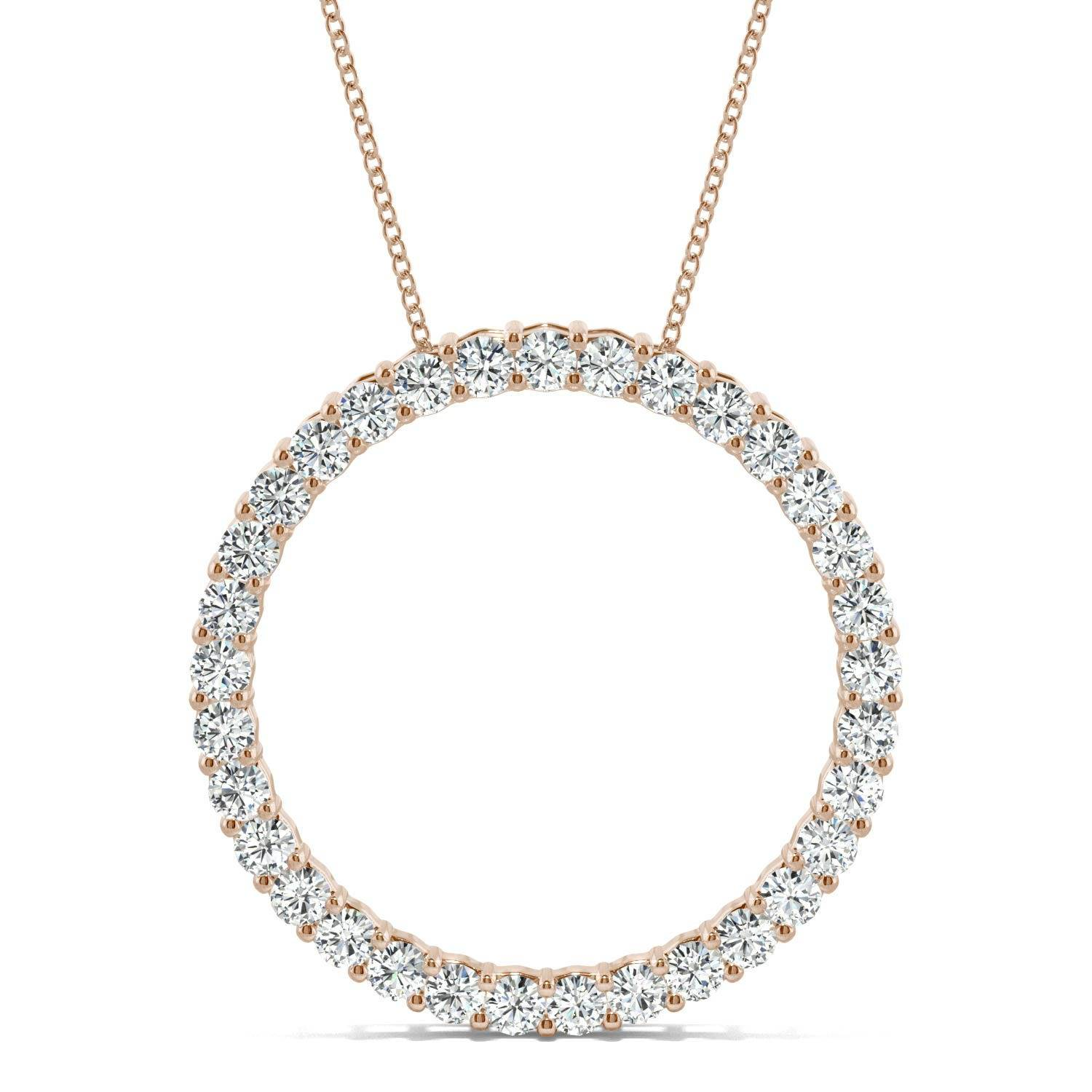 Charles & Colvard Shared Prong Circle Necklace in 14K Rose Gold, 0.50CTW Round Forever One Moissanite Accent Stones Charles & Colvard  - Rose Gold - Size: One Size