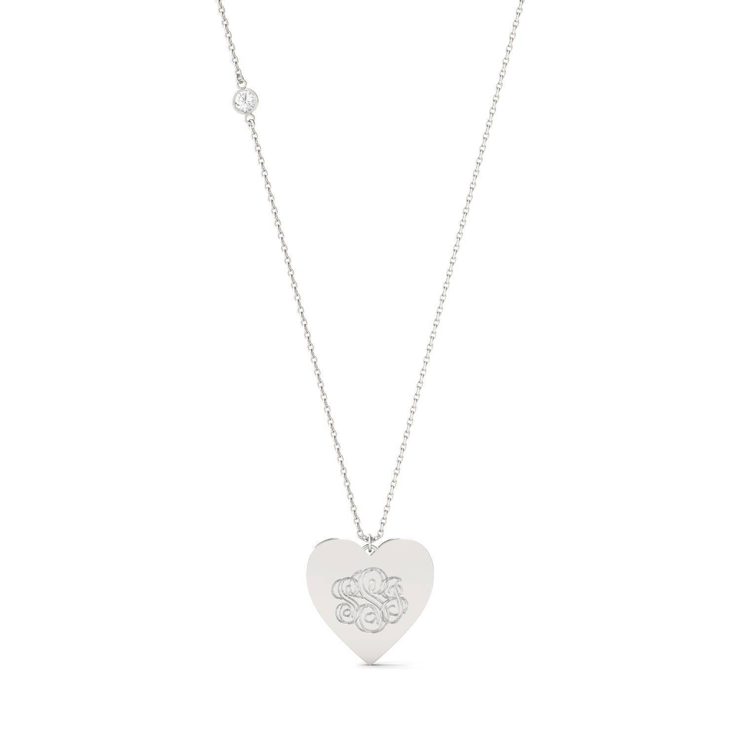 Charles & Colvard Personalized Heart Shaped Monogram Necklace White Gold in 925 White Silver, 0.10CTW Round Forever One Moissanite Accent Stones Charles & Colvard  - White Gold - Size: One Size
