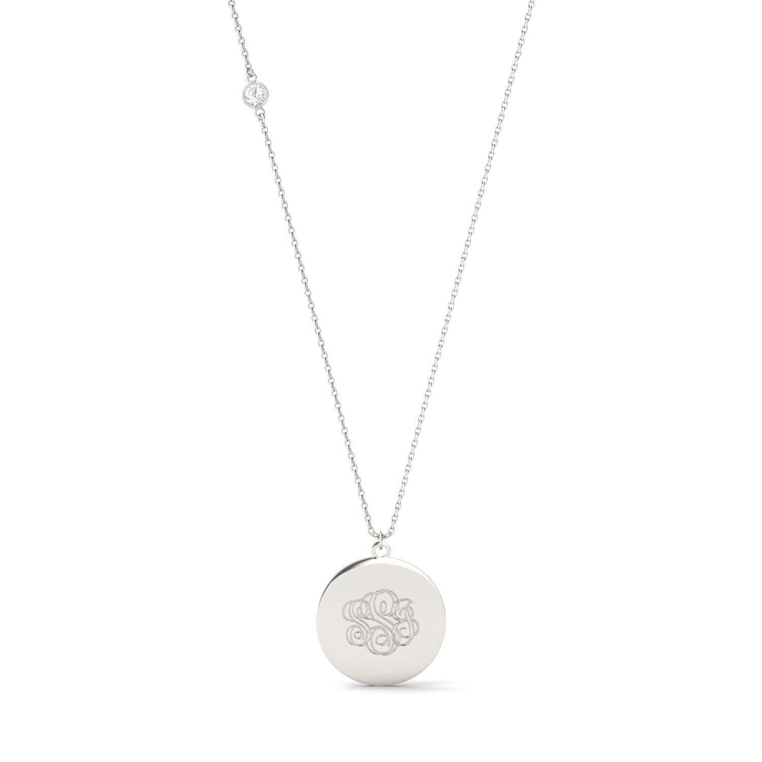 Charles & Colvard Personalized Circle Shaped Monogram Necklace White Gold in 925 White Silver, 0.10CTW Round Forever One Moissanite Accent Stones Charles & Colvard  - White Gold - Size: One Size