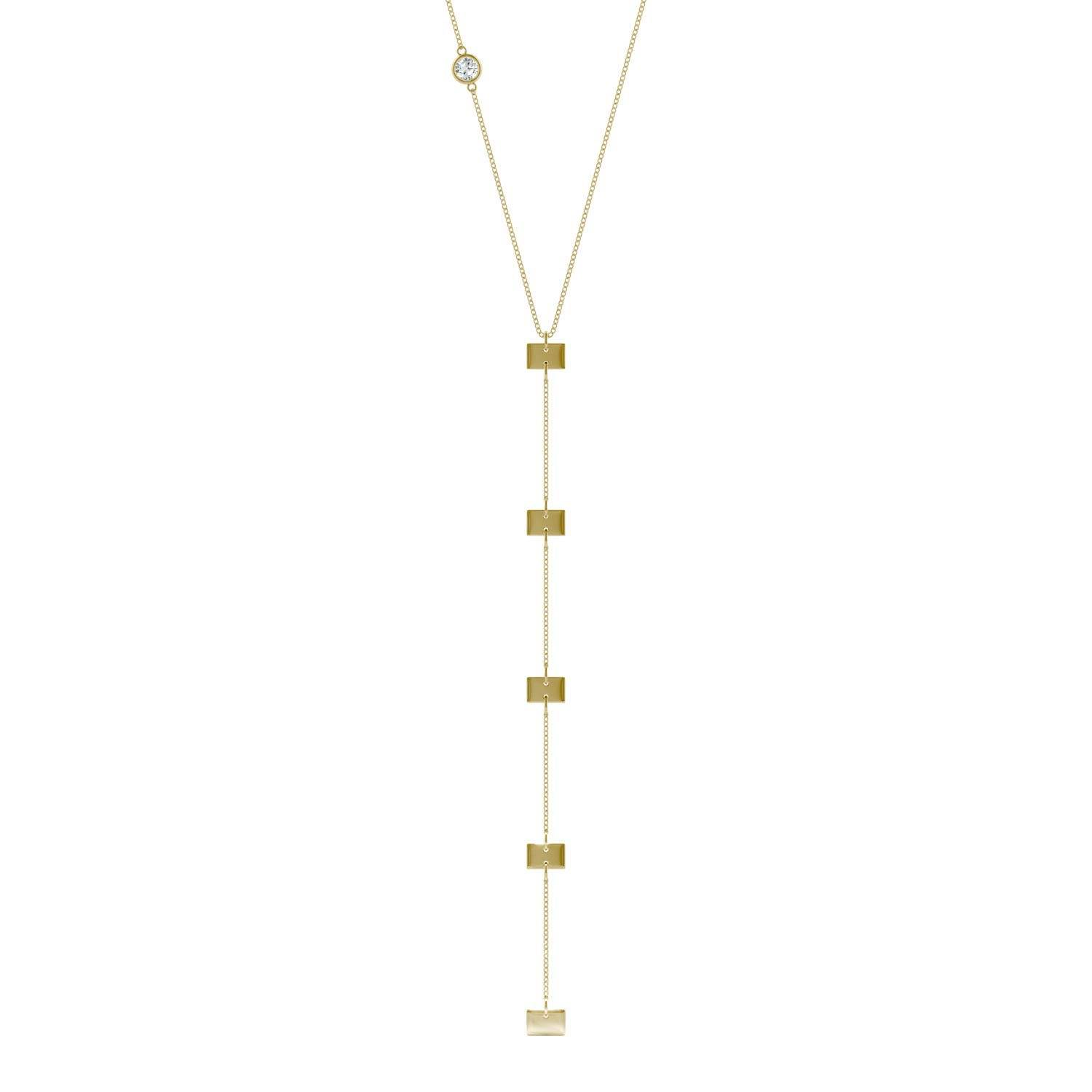 Charles & Colvard Square Drop Necklace in 14K Yellow Gold, 0.09CTW Round Forever One Moissanite Accent Stones Charles & Colvard  - Yellow Gold - Size: One Size