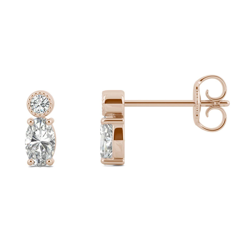 Charles & Colvard Oval Stacker Stud Earring in 14K Rose Gold, 0.58CTW Moissanite Charles & Colvard  - Rose Gold - Size: One Size