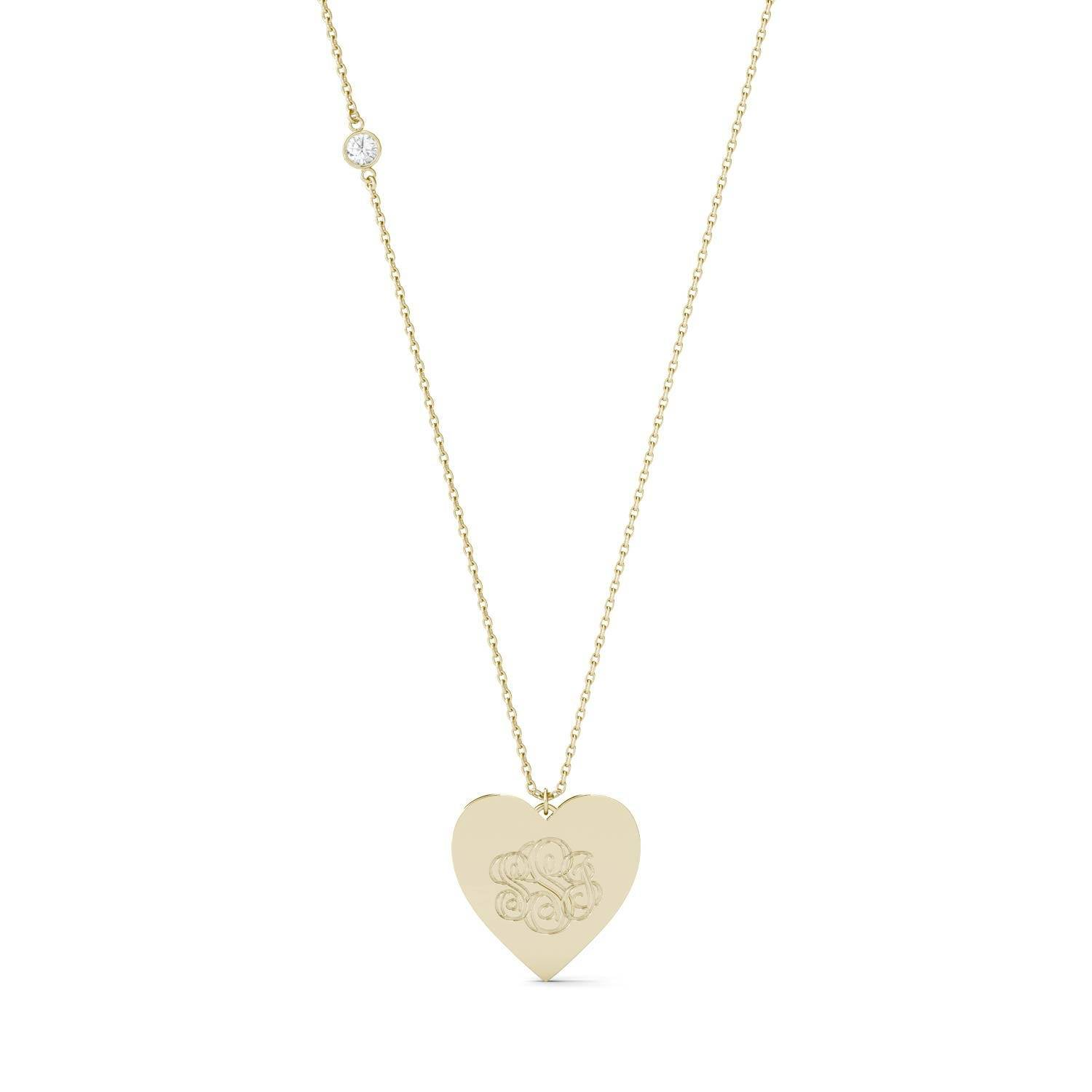 Charles & Colvard Personalized Monogram Heart Necklace in 14K Yellow Gold, 0.10CTW Round Forever One Moissanite Accent Stones Charles & Colvard  - Yellow Gold - Size: One Size
