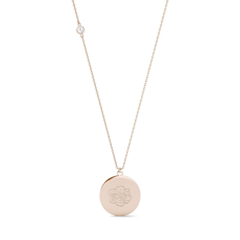 Charles & Colvard Custom Monogram Necklace in 14K Rose Gold, 0.10CTW Round Forever One Moissanite Accent Stones Charles & Colvard  - Rose Gold - Size: One Size