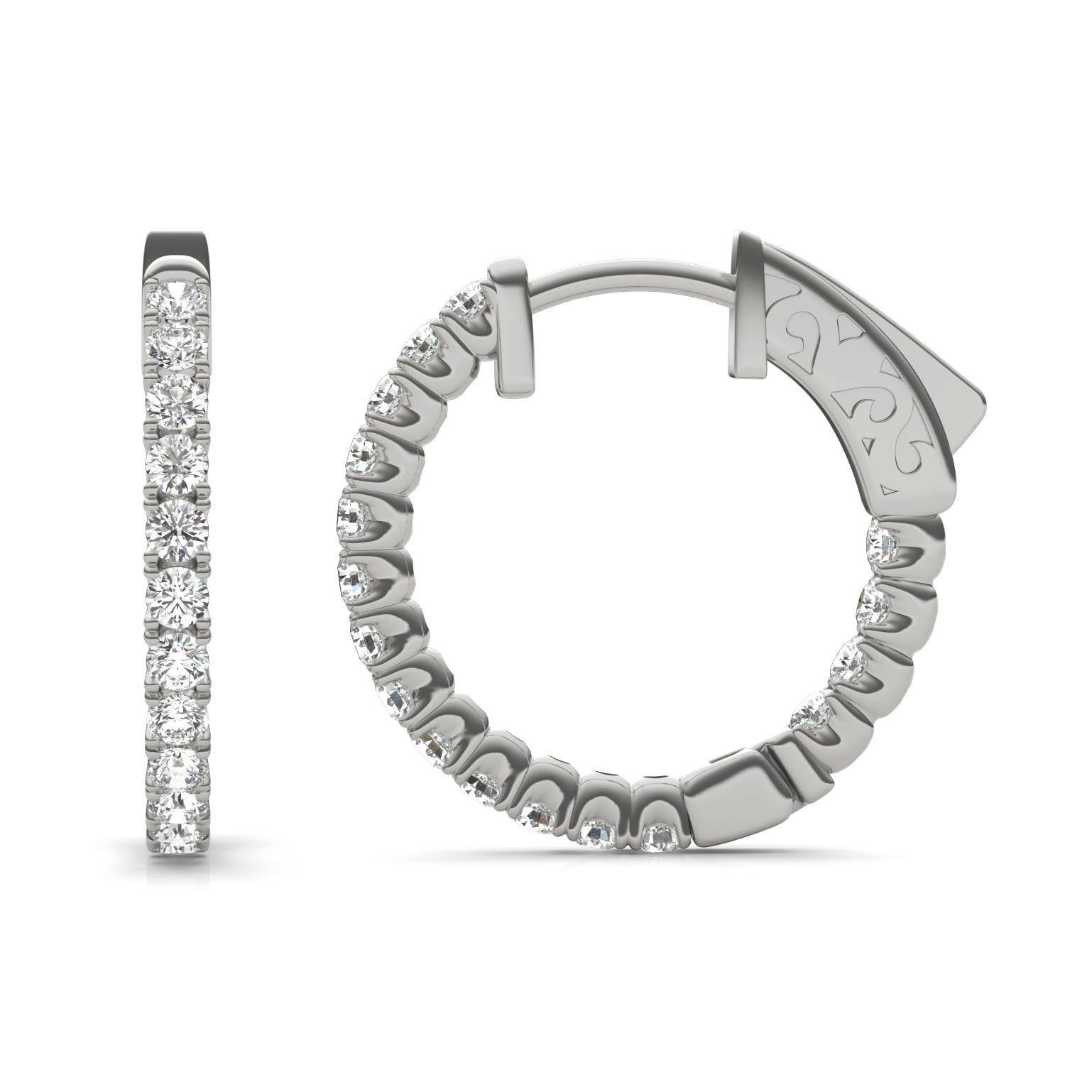 Charles & Colvard Hoop Earring in 14K White Gold, 2/3 CTW Round Caydia Lab Grown Diamond - VS1 Charles & Colvard  - White Gold - Size: One Size