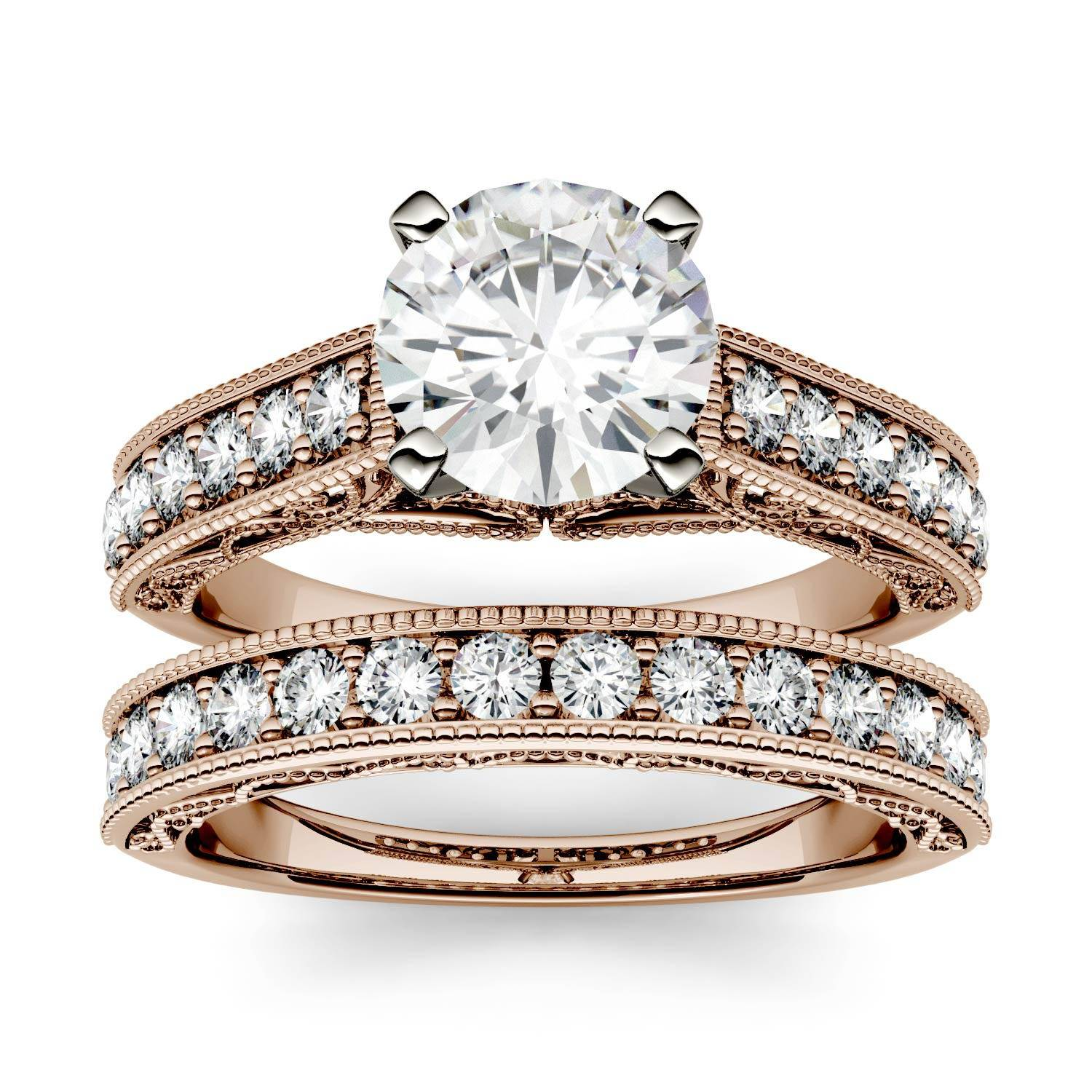 Charles & Colvard Channel Set Milgrain Bridal Engagement Ring in 14K Rose Gold, Size: 7, 1.78CTW Round Forever One - Colorless Moissanite Charles & Colvard  - Rose Gold - Size: 7