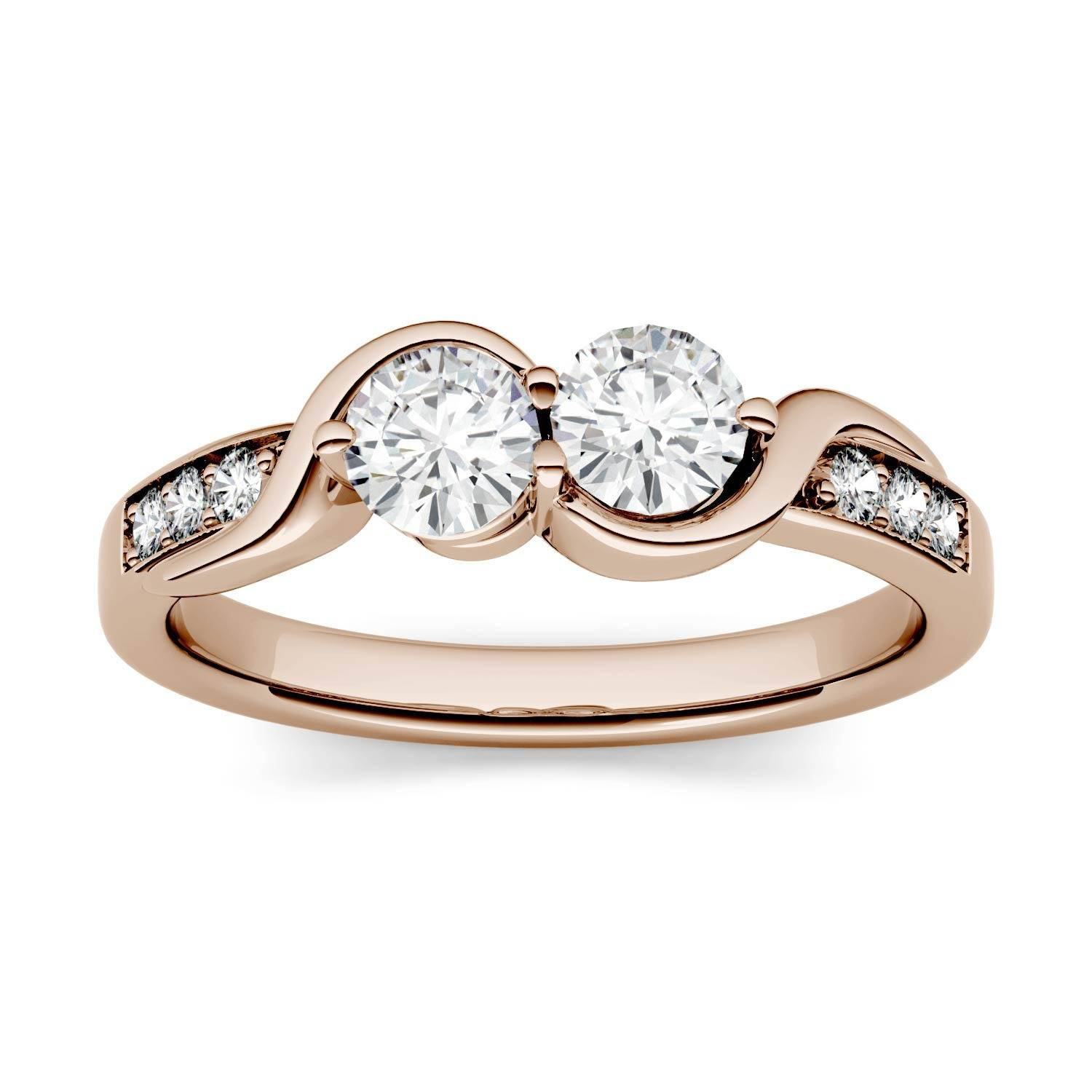 Charles & Colvard Two Stone Swirl with Side Accents Wedding Ring in 14K Rose Gold, Size: 9, 1.12CTW Round Forever One - Colorless Moissanite Charles & Colvard  - Rose Gold - Size: 9