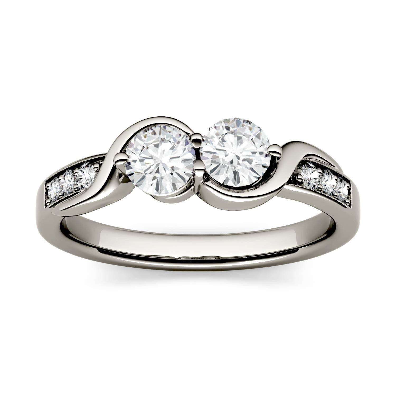 Charles & Colvard Two Stone Swirl with Side Accents Wedding Ring in 14K White Gold, Size: 8, 1.12CTW Round Forever One - Colorless Moissanite Charles & Colvard  - White Gold - Size: 8