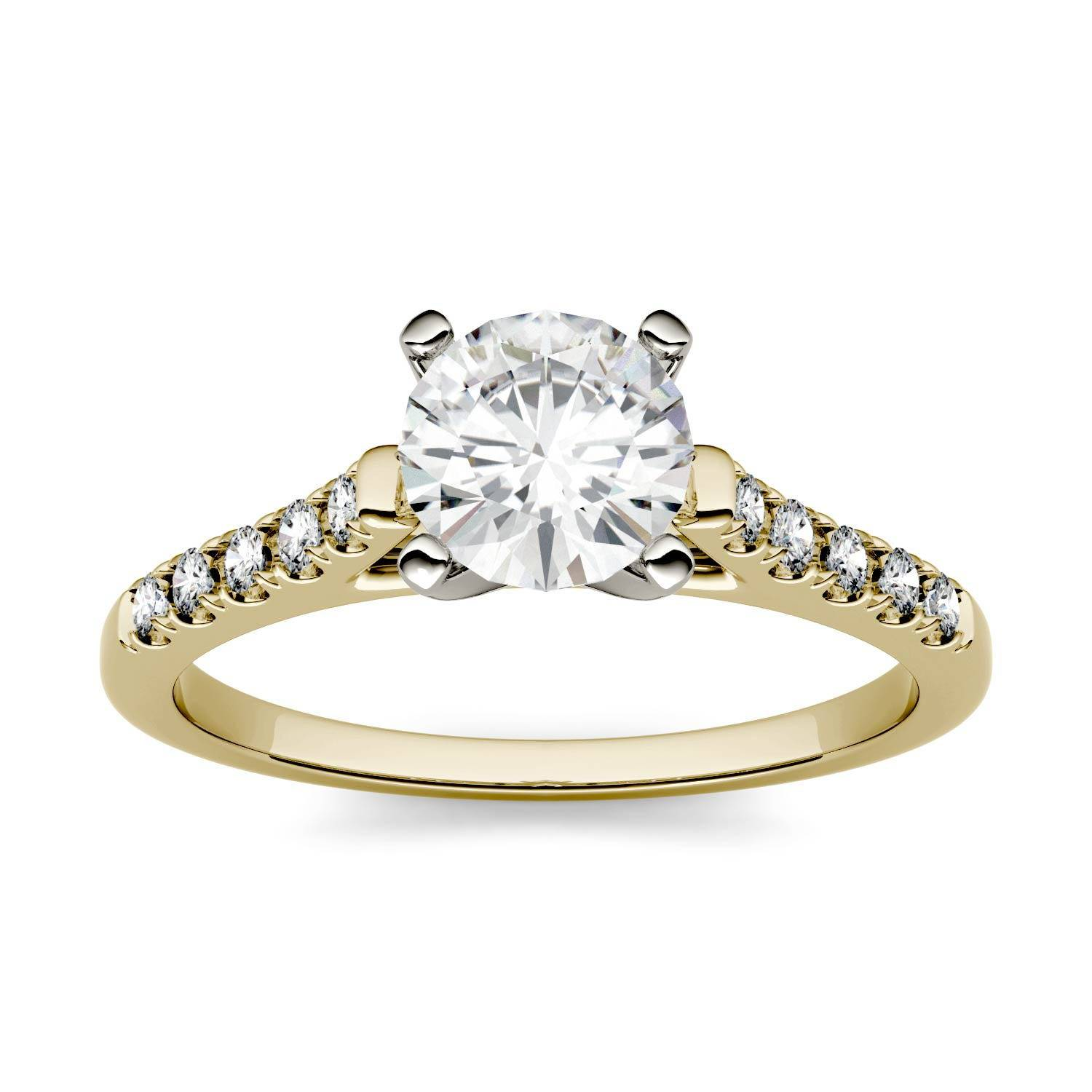 Charles & Colvard Solitaire with Side Accents Engagement Ring in 14K Yellow Gold, Size: 9, 1.15CTW Round Forever One - Near-Colorless Moissanite Charles & Colvard  - Yellow Gold - Size: 9