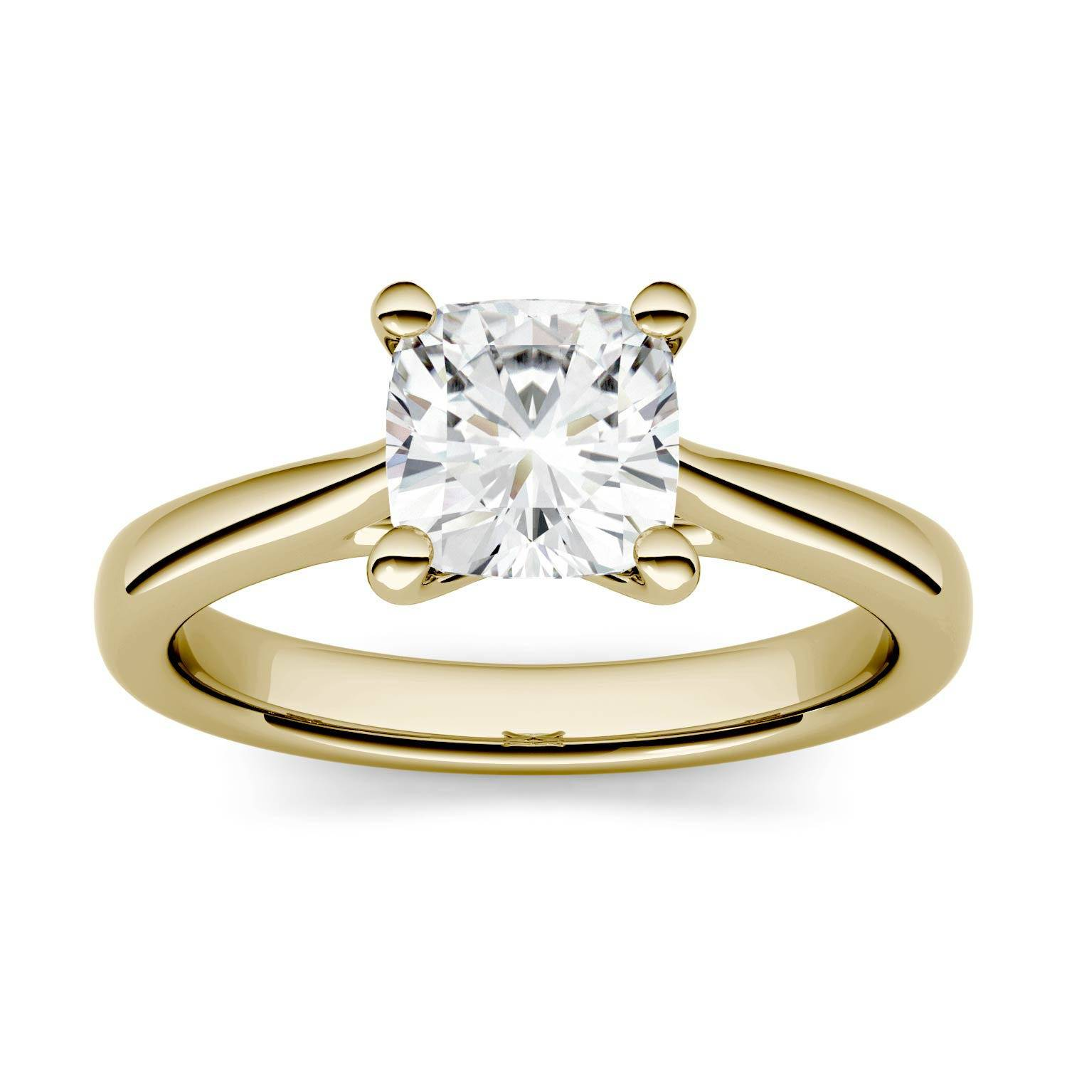 Charles & Colvard Solitaire Engagement Ring in 14K Yellow Gold, Size: 5, 1.10CTW Cushion Forever One - Colorless Moissanite Charles & Colvard  - Yellow Gold - Size: 5