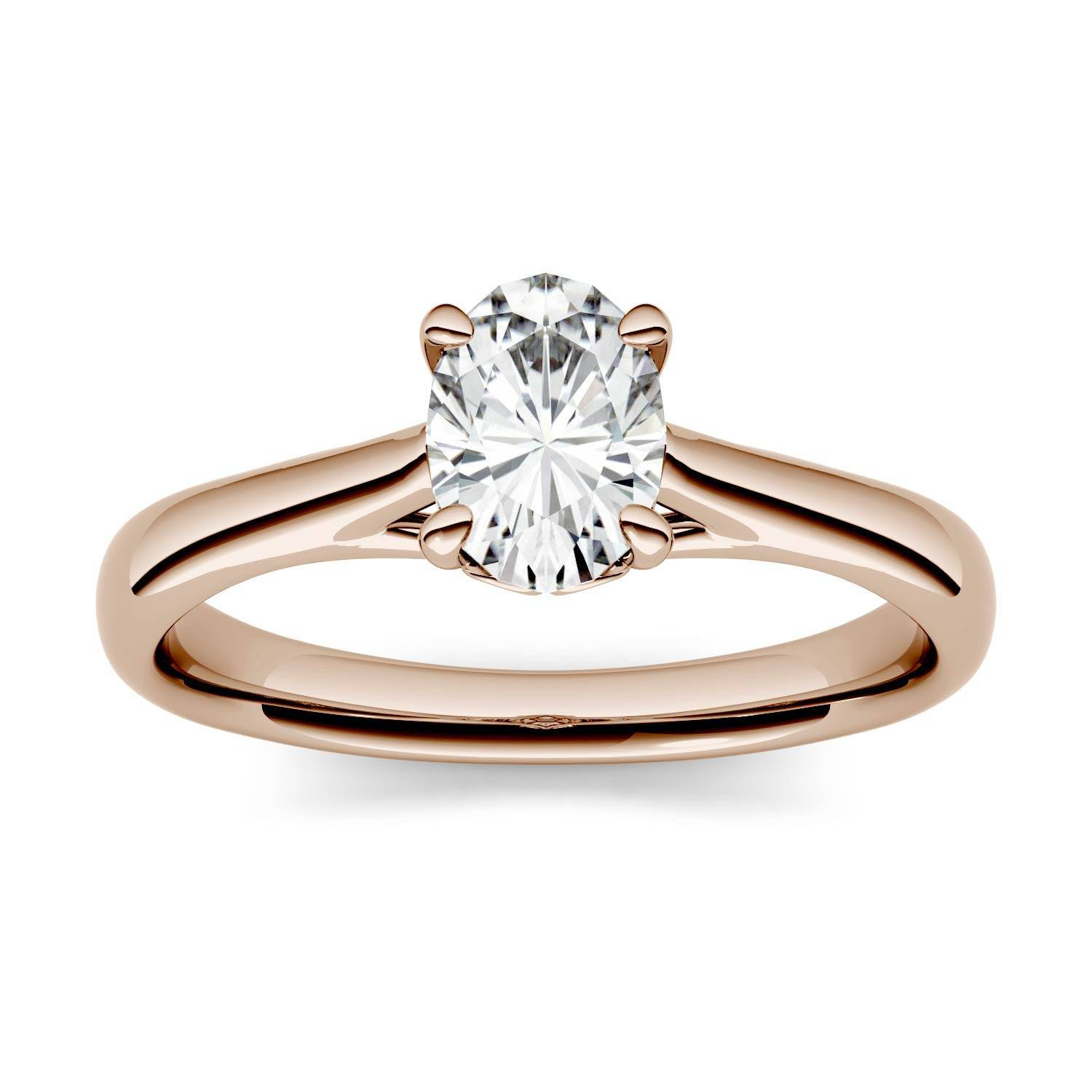 Charles & Colvard Four Prong Solitaire Engagement Ring in 14K Rose Gold, Size: 7, 0.90CTW Oval Forever One - Near-Colorless Moissanite Charles & Colvard  - Rose Gold - Size: 7