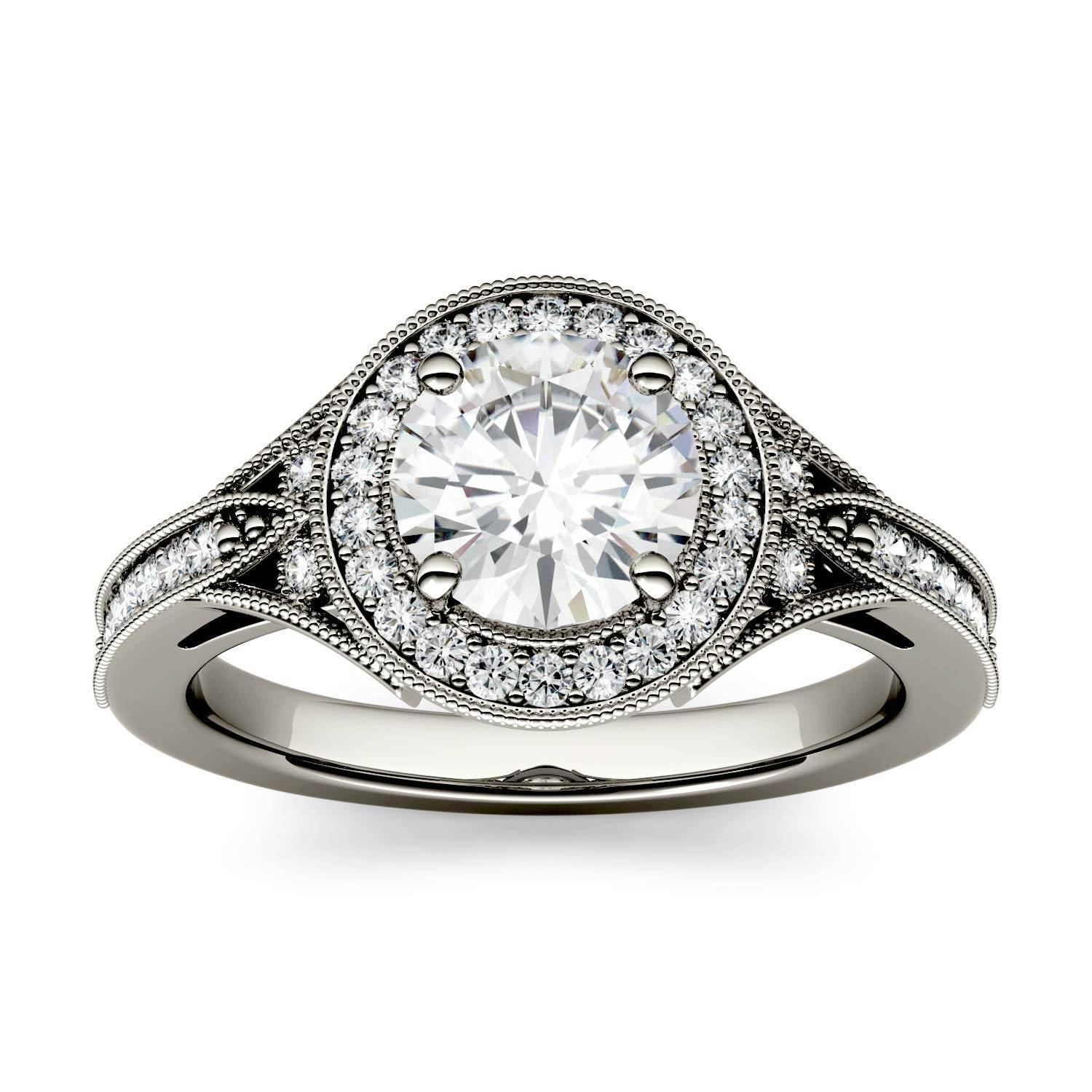 Charles & Colvard Milgrain Halo with Side Accents Engagement Ring in 14K White Gold, Size: 7, 1.25CTW Round Forever One - Near-Colorless Moissanite Charles & Colvard  - White Gold - Size: 7