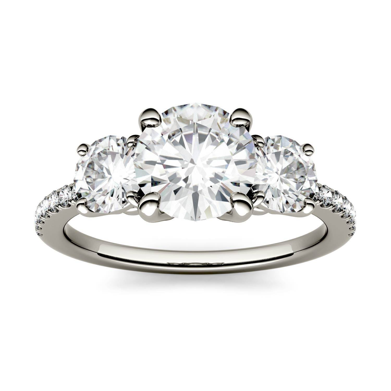 Charles & Colvard Three Stone with Side Accents Engagement Ring in 14K White Gold, Size: 8, 2.14CTW Round Forever One - Near-Colorless Moissanite Charles & Colvard  - White Gold - Size: 8