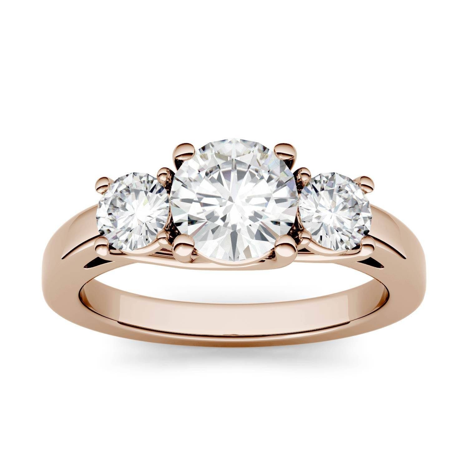 Charles & Colvard Trellis Three Stone Engagement Ring in 14K Rose Gold, Size: 8, 2.00CTW Round Forever One - Near-Colorless Moissanite Charles & Colvard  - Rose Gold - Size: 8