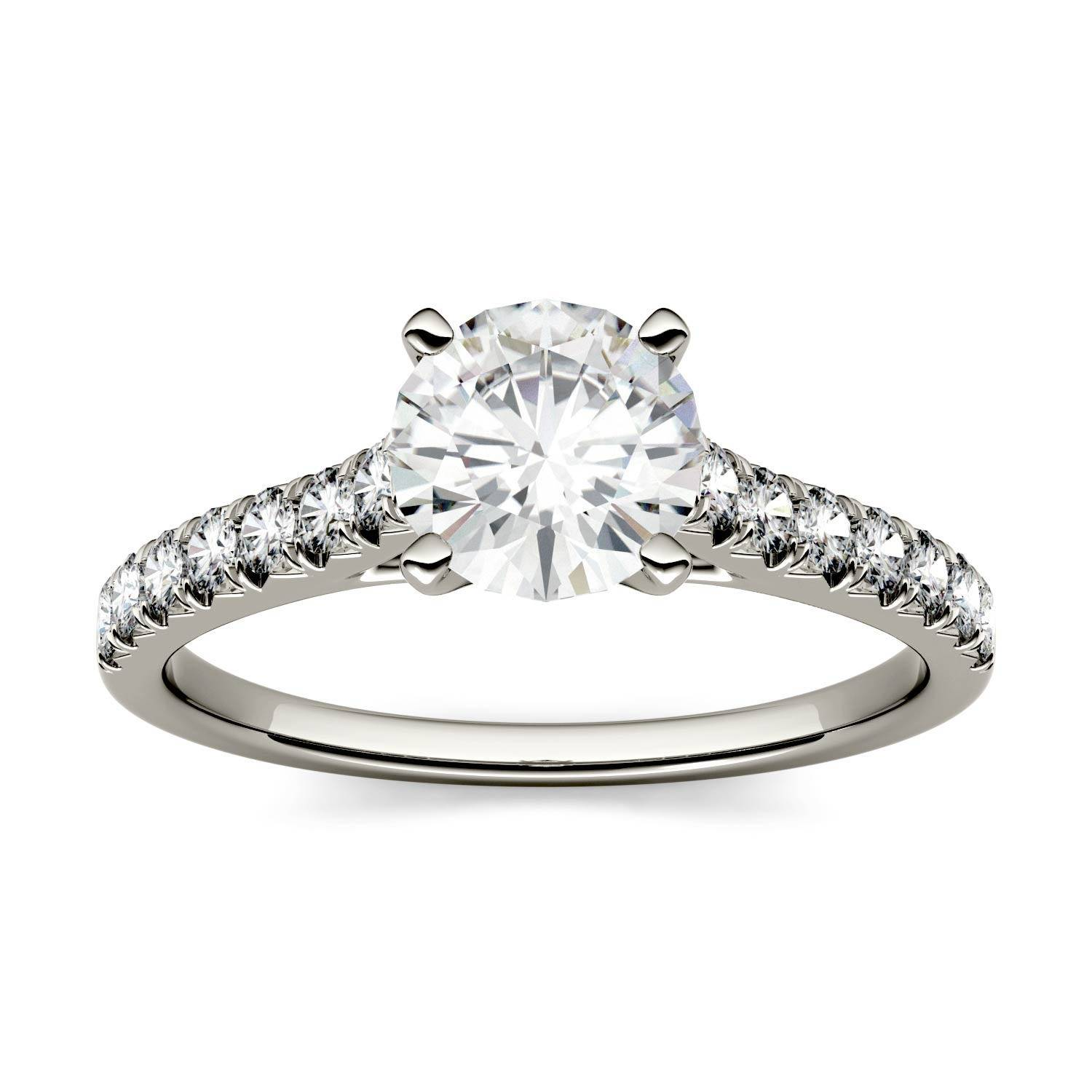 Charles & Colvard Solitaire with Side Accents Engagement Ring in 14K White Gold, Size: 6, 1.35CTW Round Forever One - Colorless Moissanite Charles & Colvard  - White Gold - Size: 6
