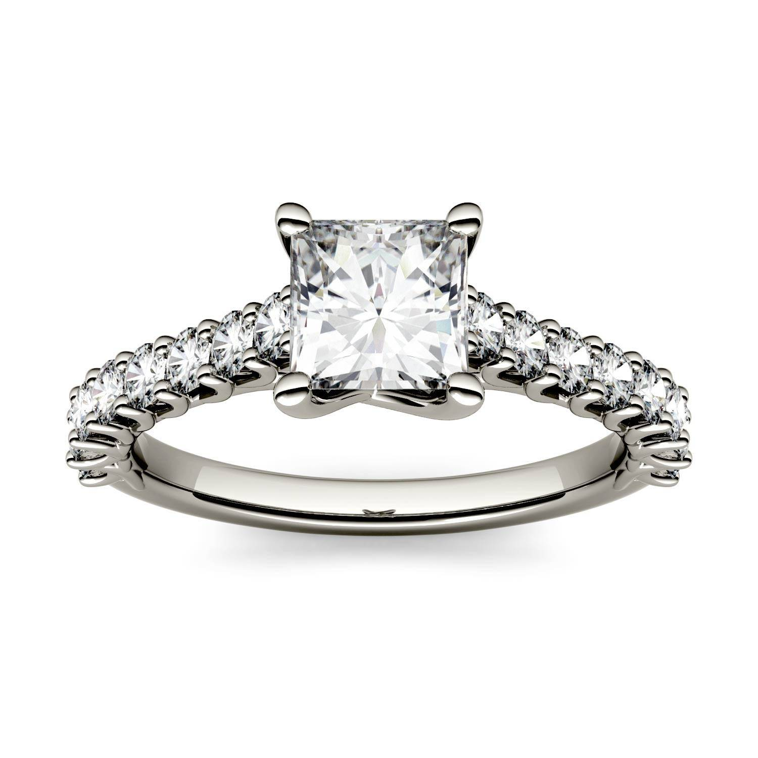 Charles & Colvard Solitaire with Side Accents Engagement Ring in 14K White Gold, Size: 9, 1.48CTW Square Forever One - Colorless Moissanite Charles & Colvard  - White Gold - Size: 9