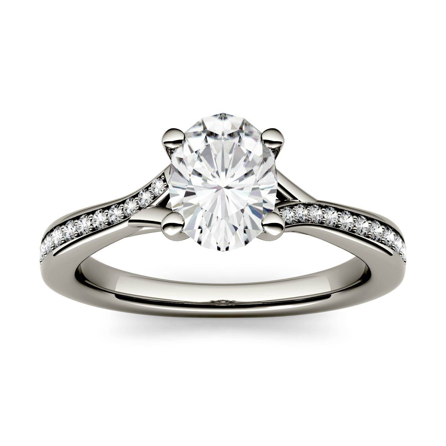Charles & Colvard Solitaire with Side Accents Engagement Ring in 14K White Gold, Size: 7, 1.0CTW Oval Forever One - Colorless Moissanite Charles & Colvard  - White Gold - Size: 7