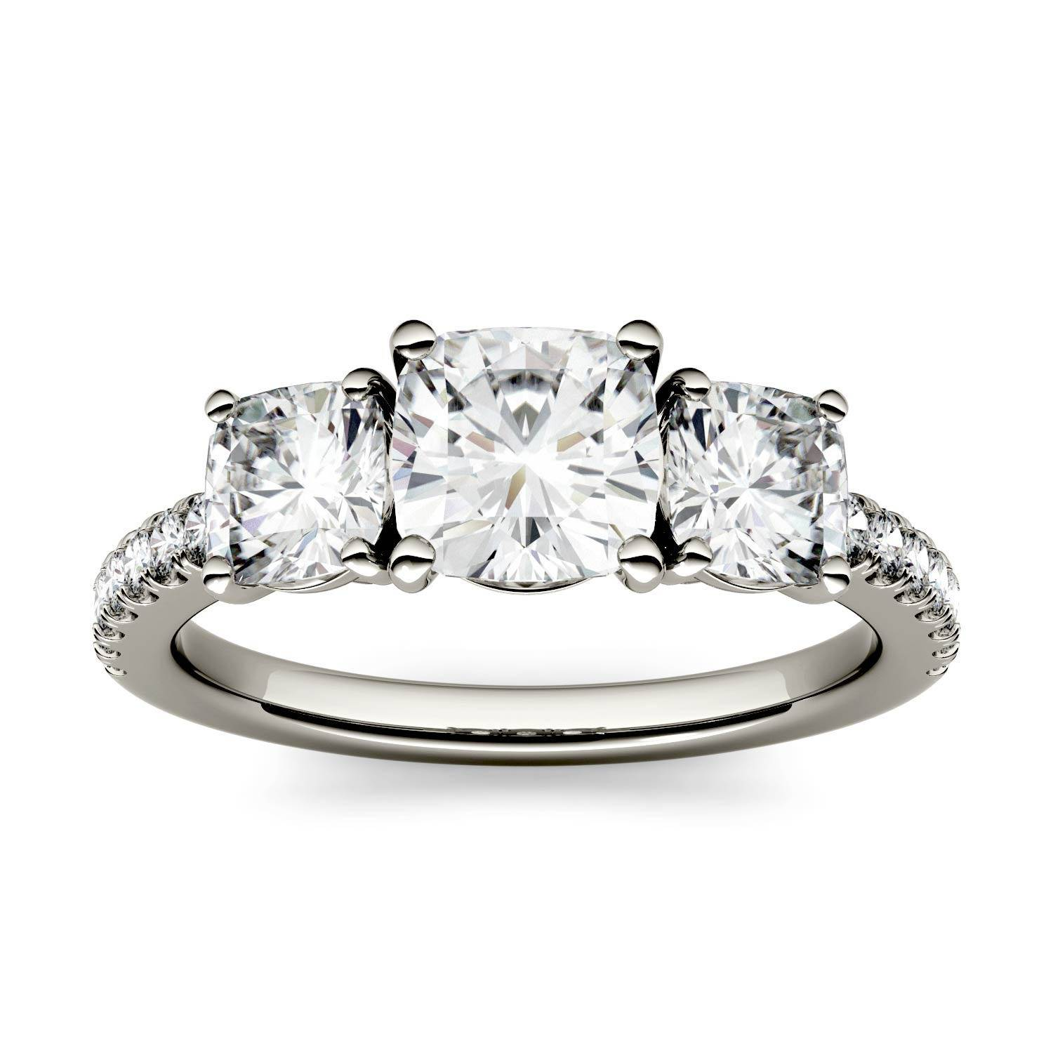 Charles & Colvard Three Stone with Side Accents Engagement Ring in 14K White Gold, Size: 8, 2.24CTW Cushion Forever One - Colorless Moissanite Charles & Colvard  - White Gold - Size: 8